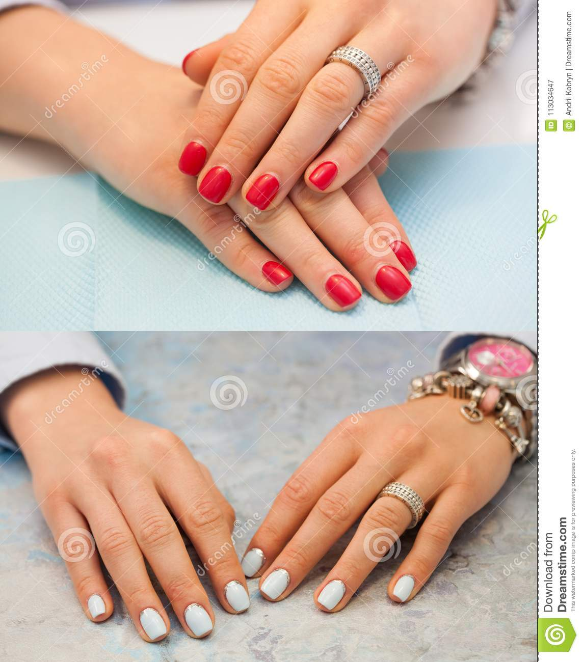 Collage Of Manicure. Female Hands With Red Nails. The Light Blue And ...