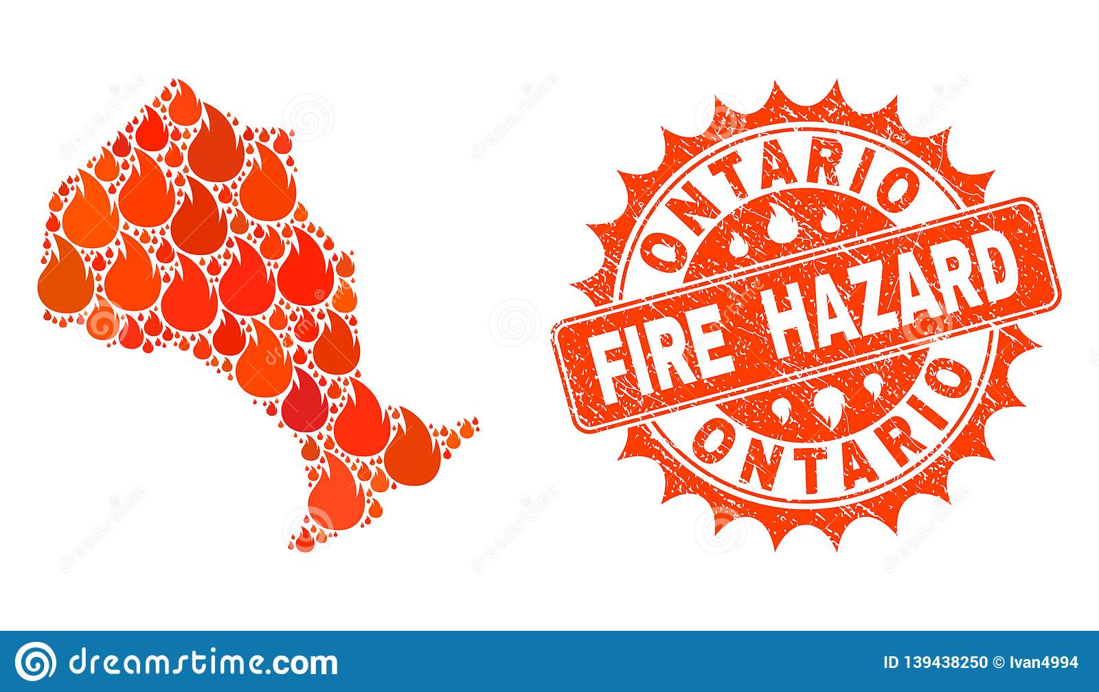 Collage Of Map Of Ontario Province Burning And Fire Hazard Grunge