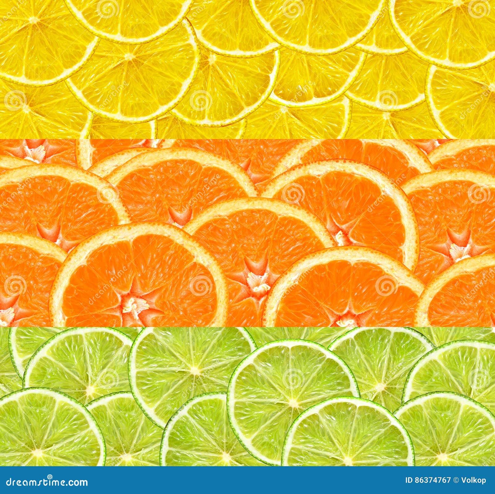 Collage med citrusfrukt av limefrukt-, citron- och apelsinskivor