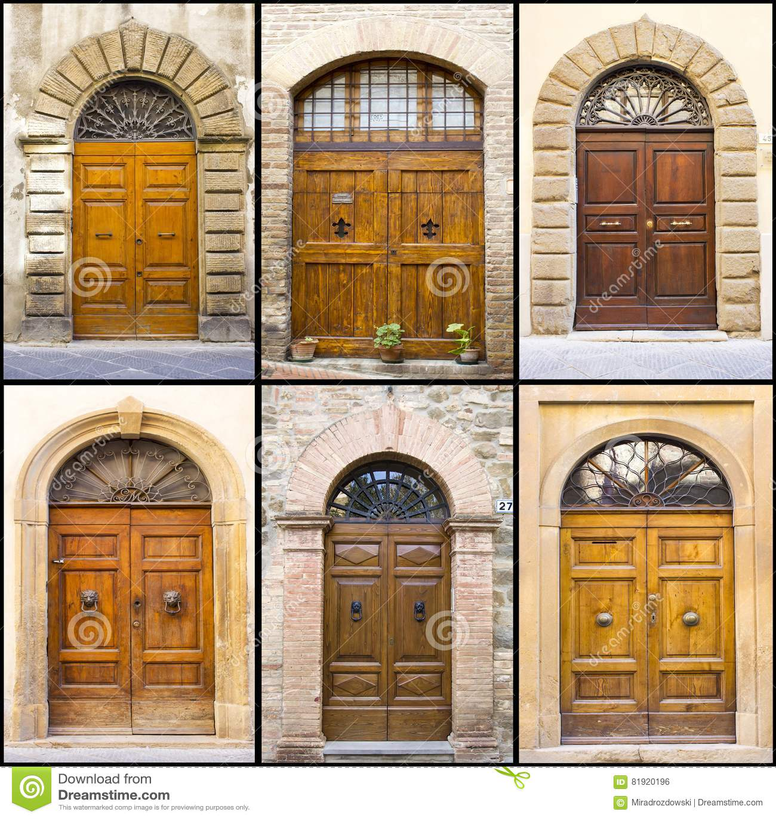 Collage med gamla italienska dörrar
