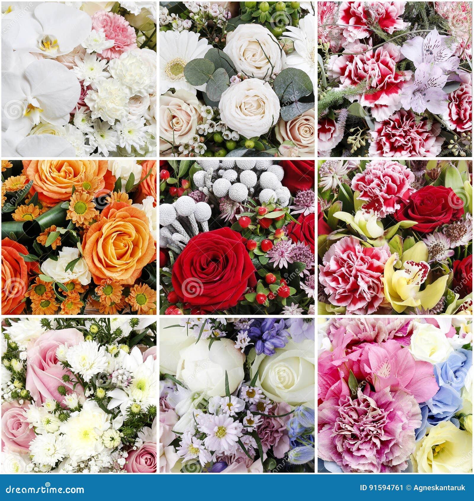 Collage met boeketten van bloemen