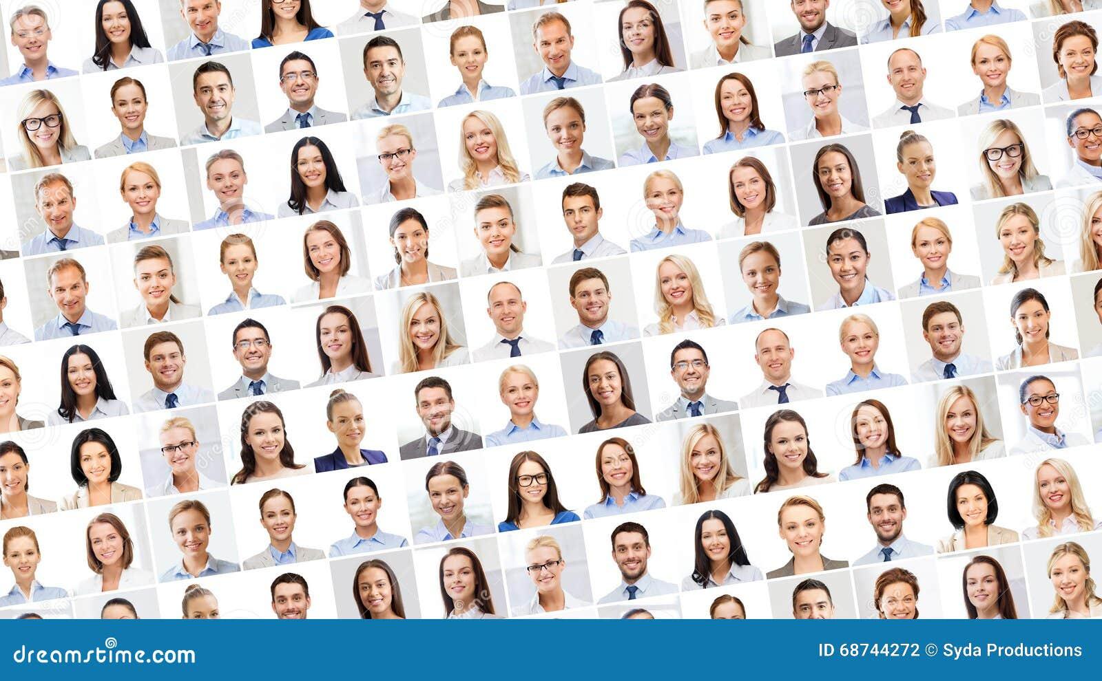 Collage met vele bedrijfsmensenportretten