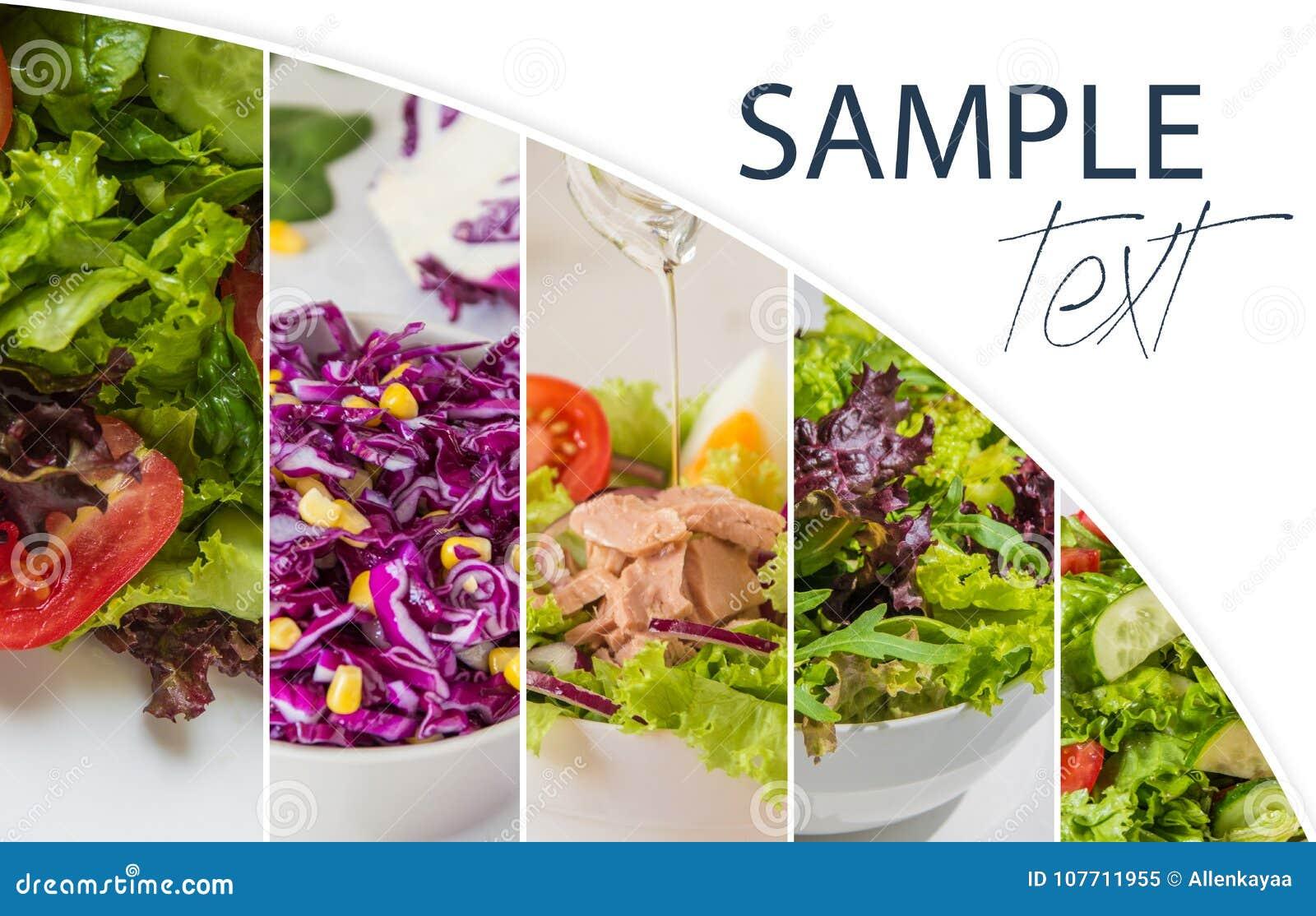 Collage met verse salades, groene bladeren, groenten, tonijn