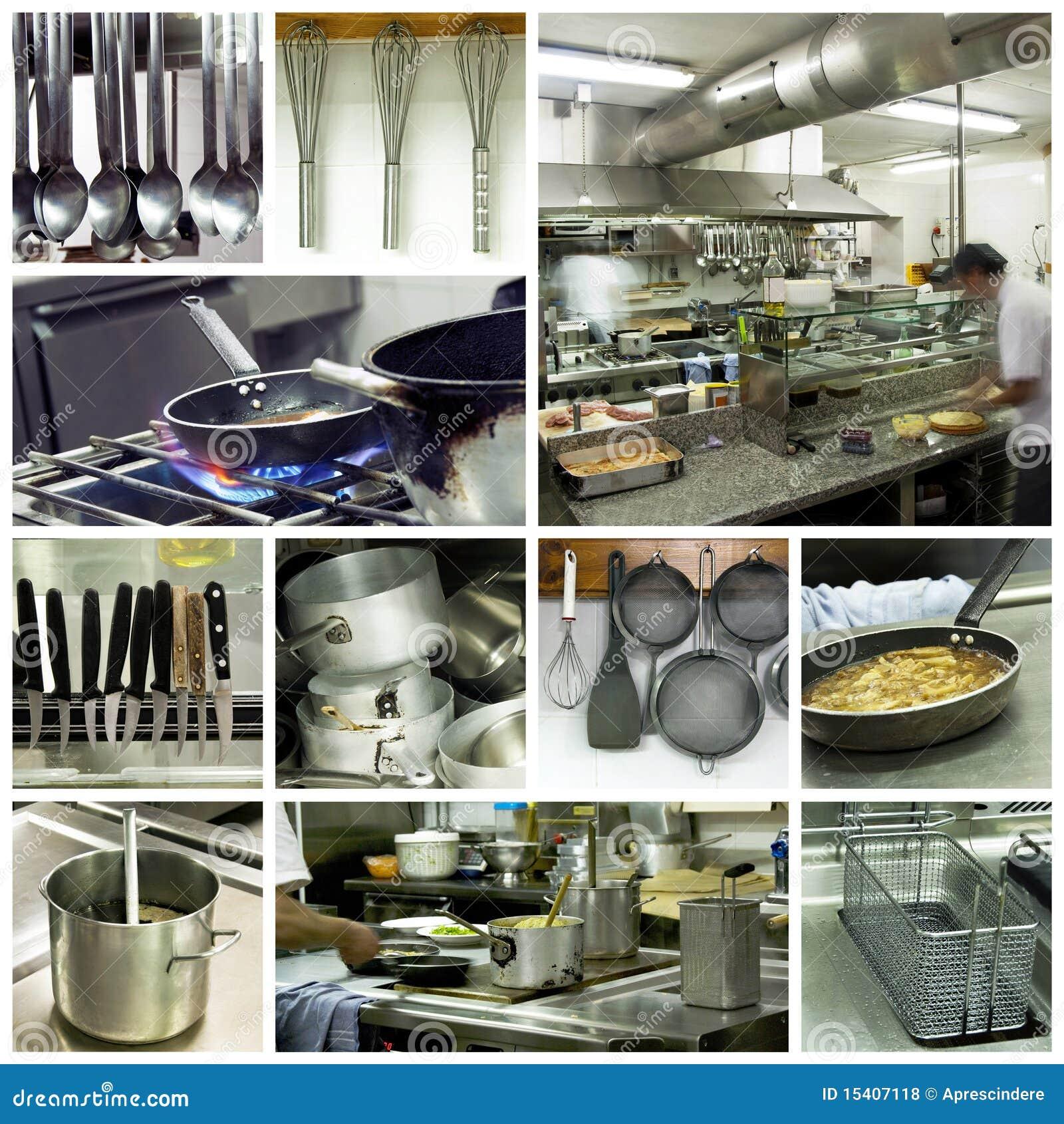 Collage moderne de cuisine d hôtel