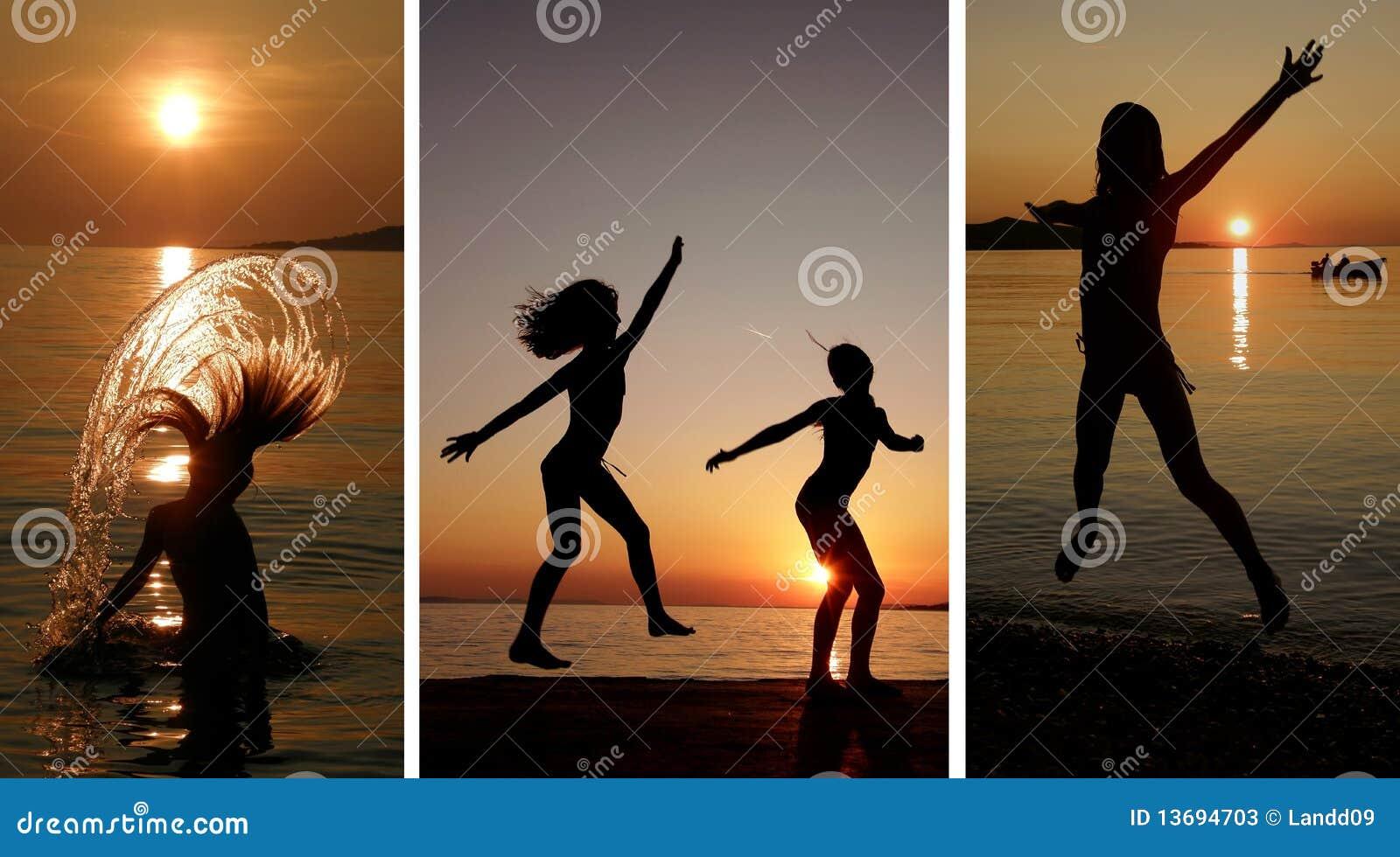 Collage-muchachas que bailan y que saltan en la puesta del sol