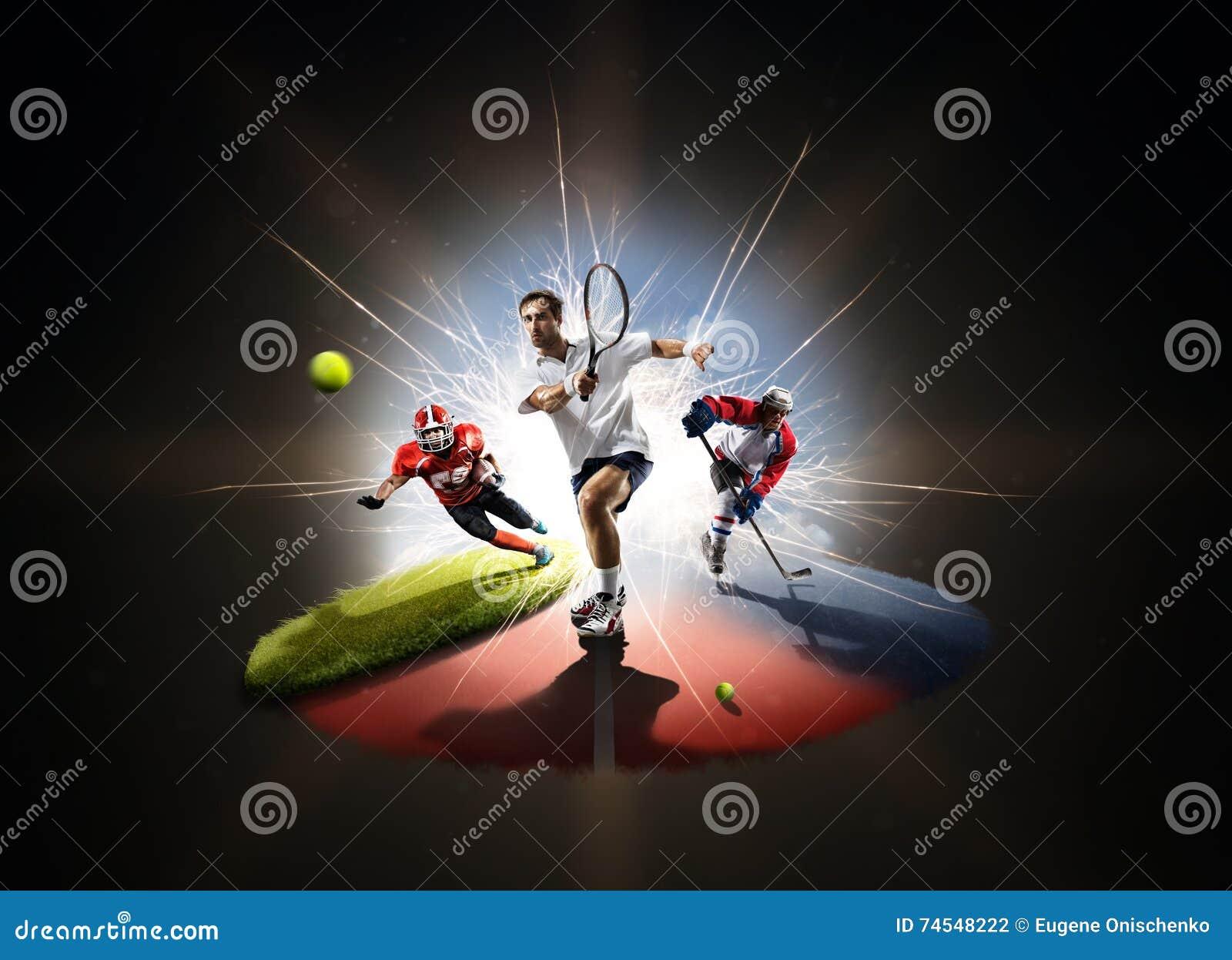 Collage multi de los deportes de footbal americano del hockey del tenis