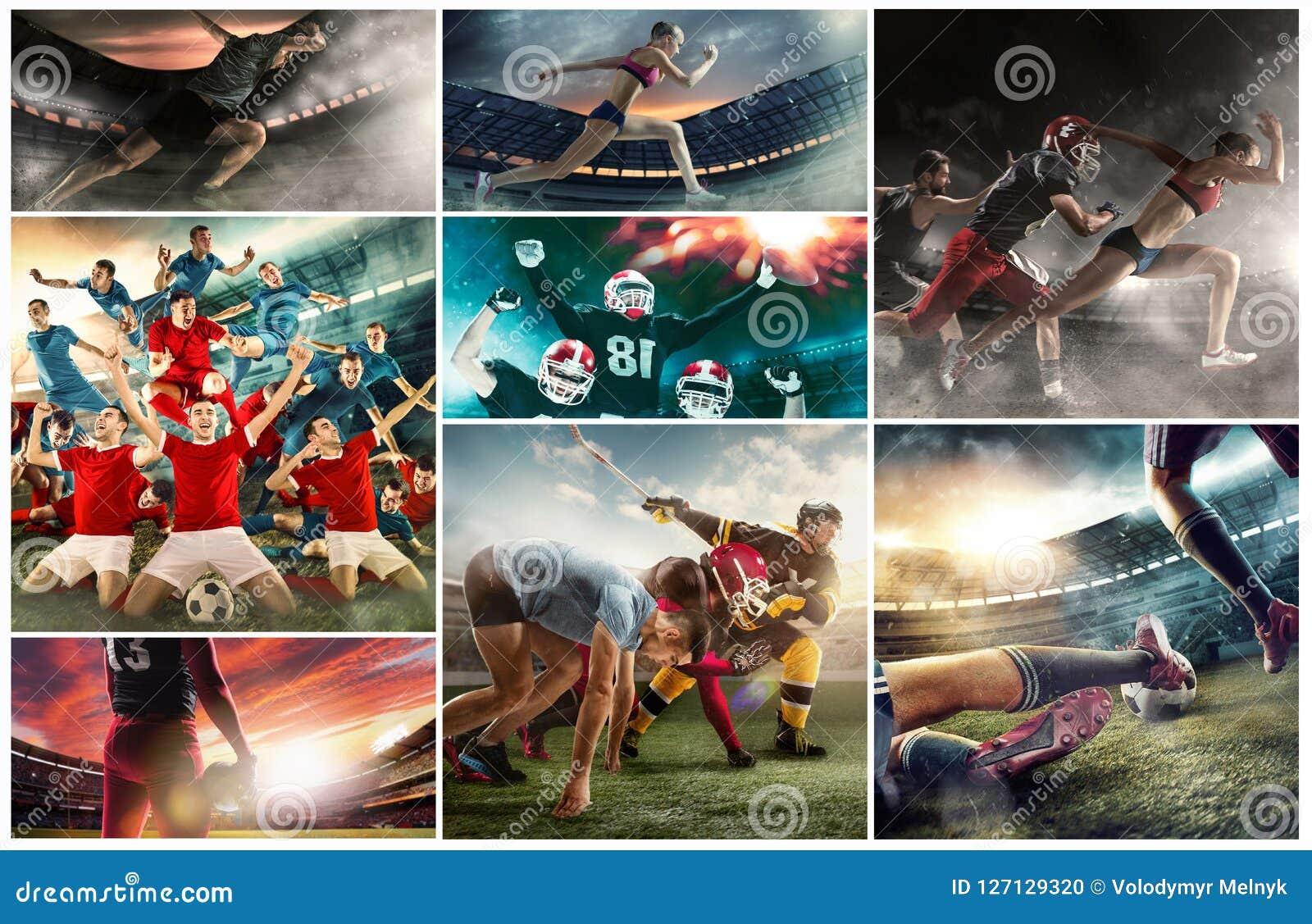 Collage multi de sports au sujet de basket-ball, de joueurs de football américain et de femme courante convenable