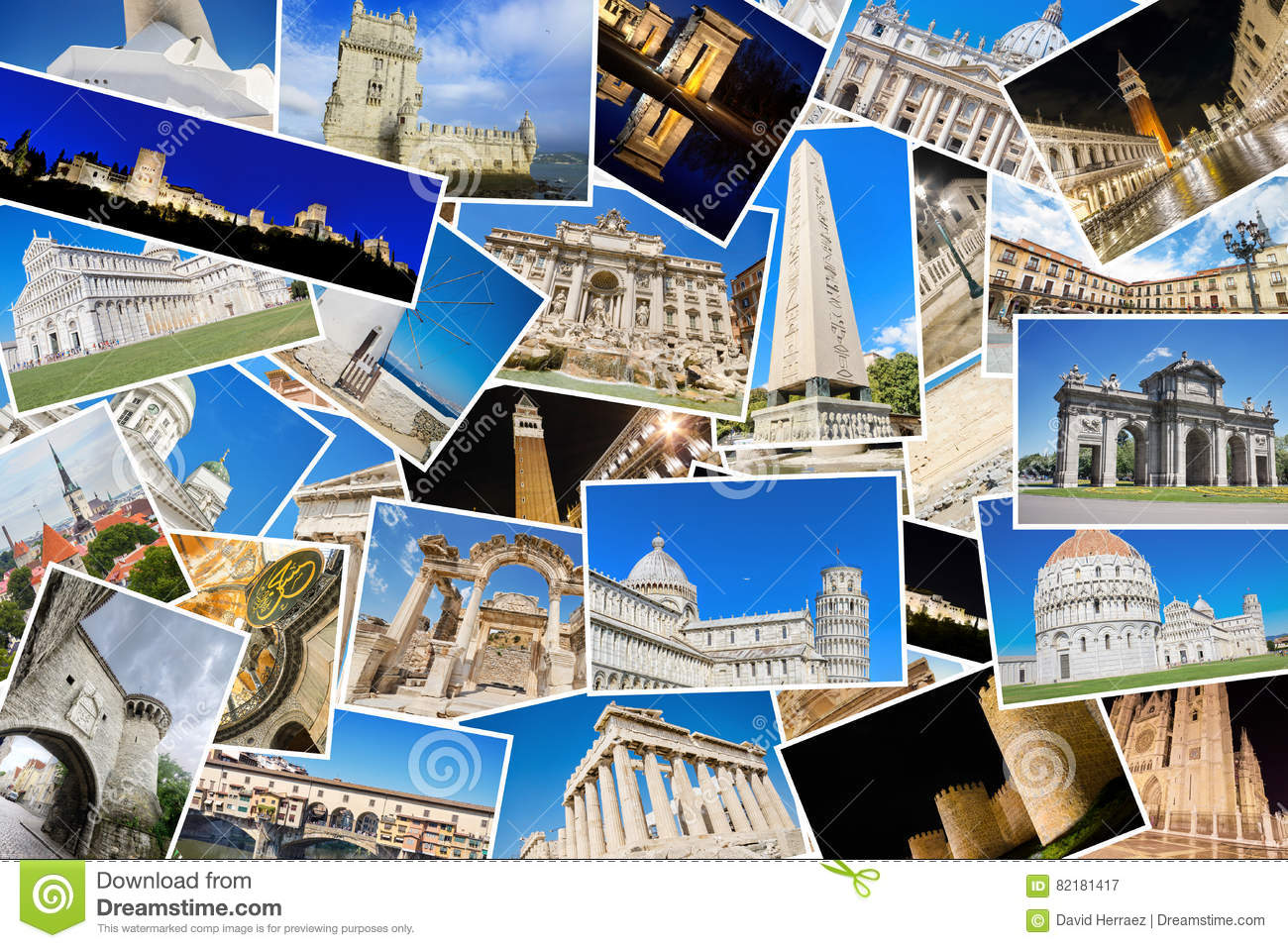 A collage of my best travel photos of famous Landmarks from European cities