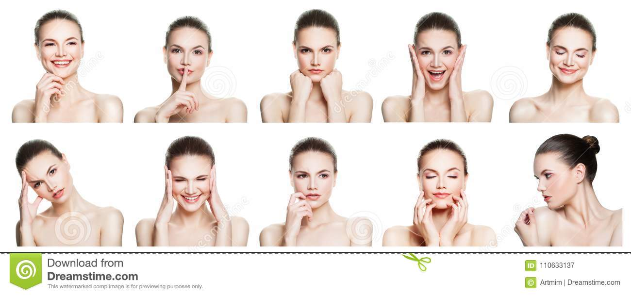 Collage of negative and positive female face expressions