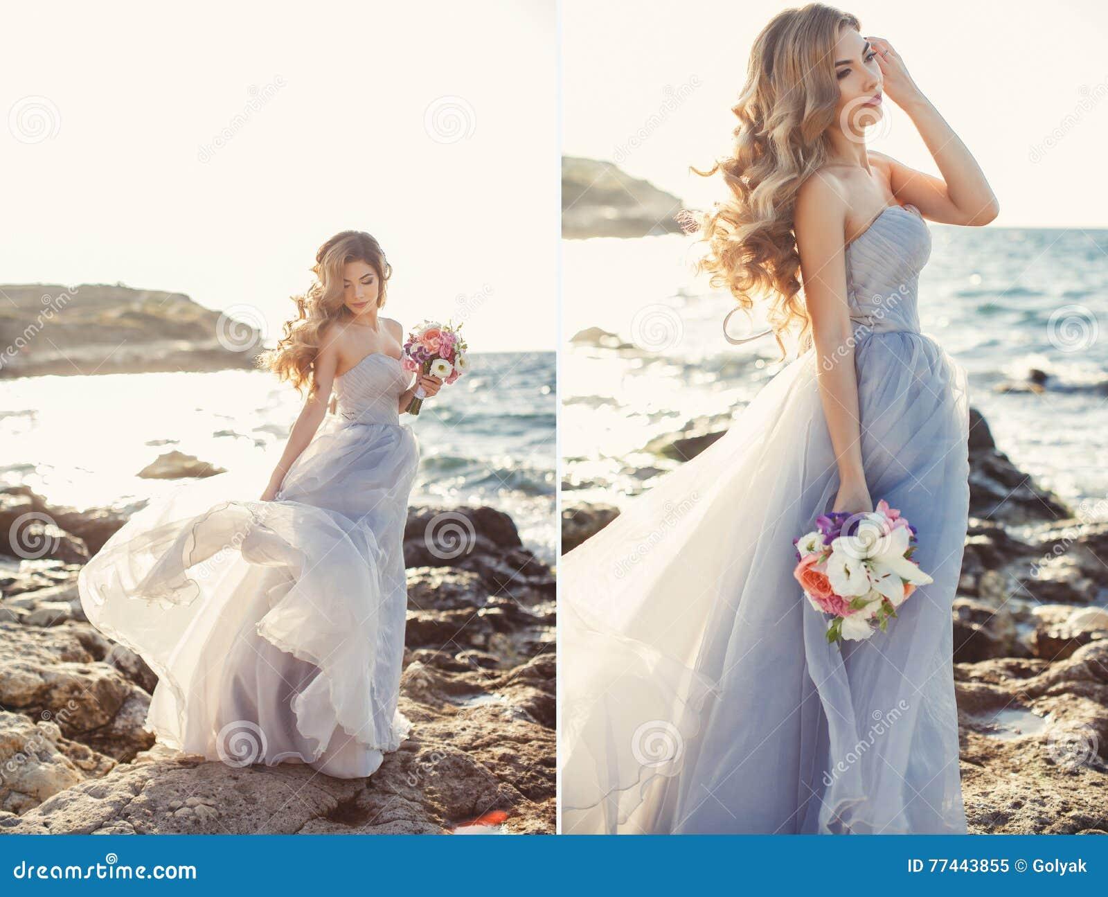 Vestido novia mar flores
