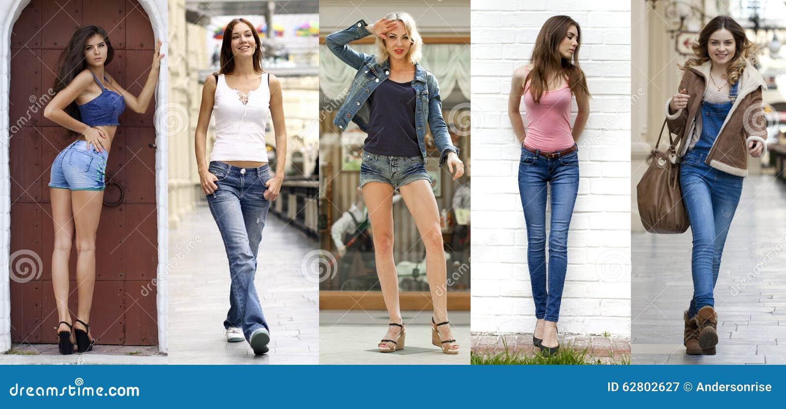 Collage Oavkortad tillväxt för stående de unga härliga flickorna i bl