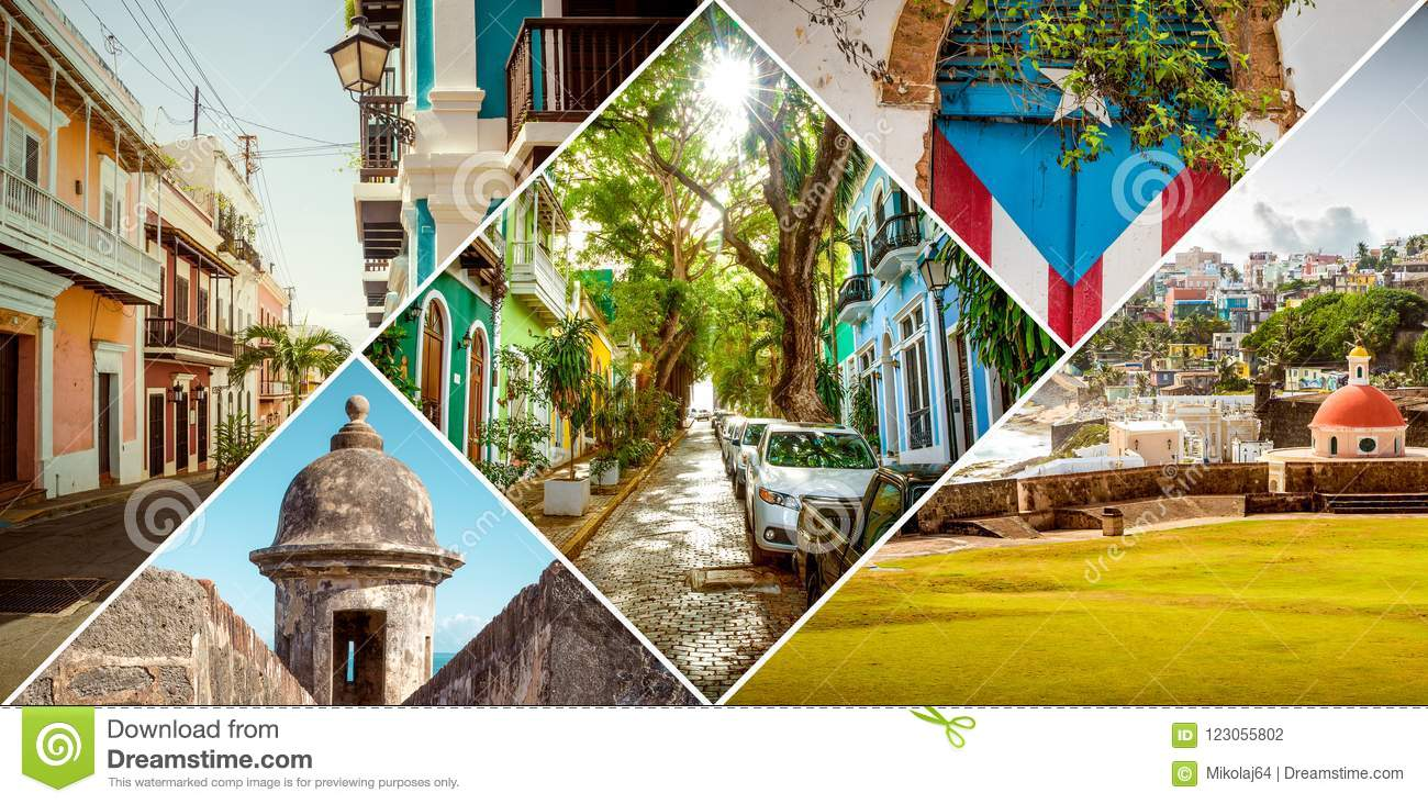 Collage of Old San Juan, Puerto Rico