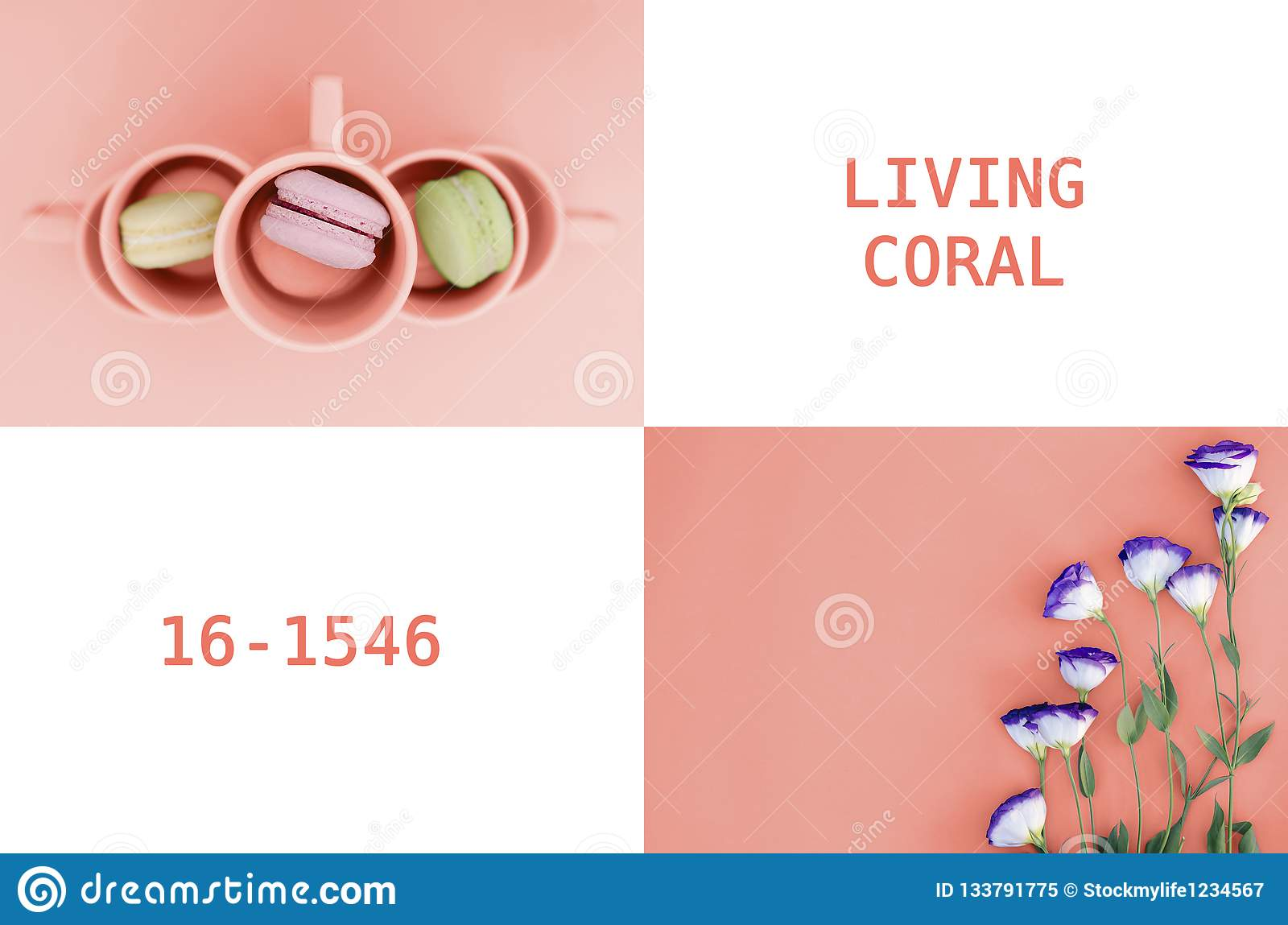A collage of photos in color in 2019 Living Coral