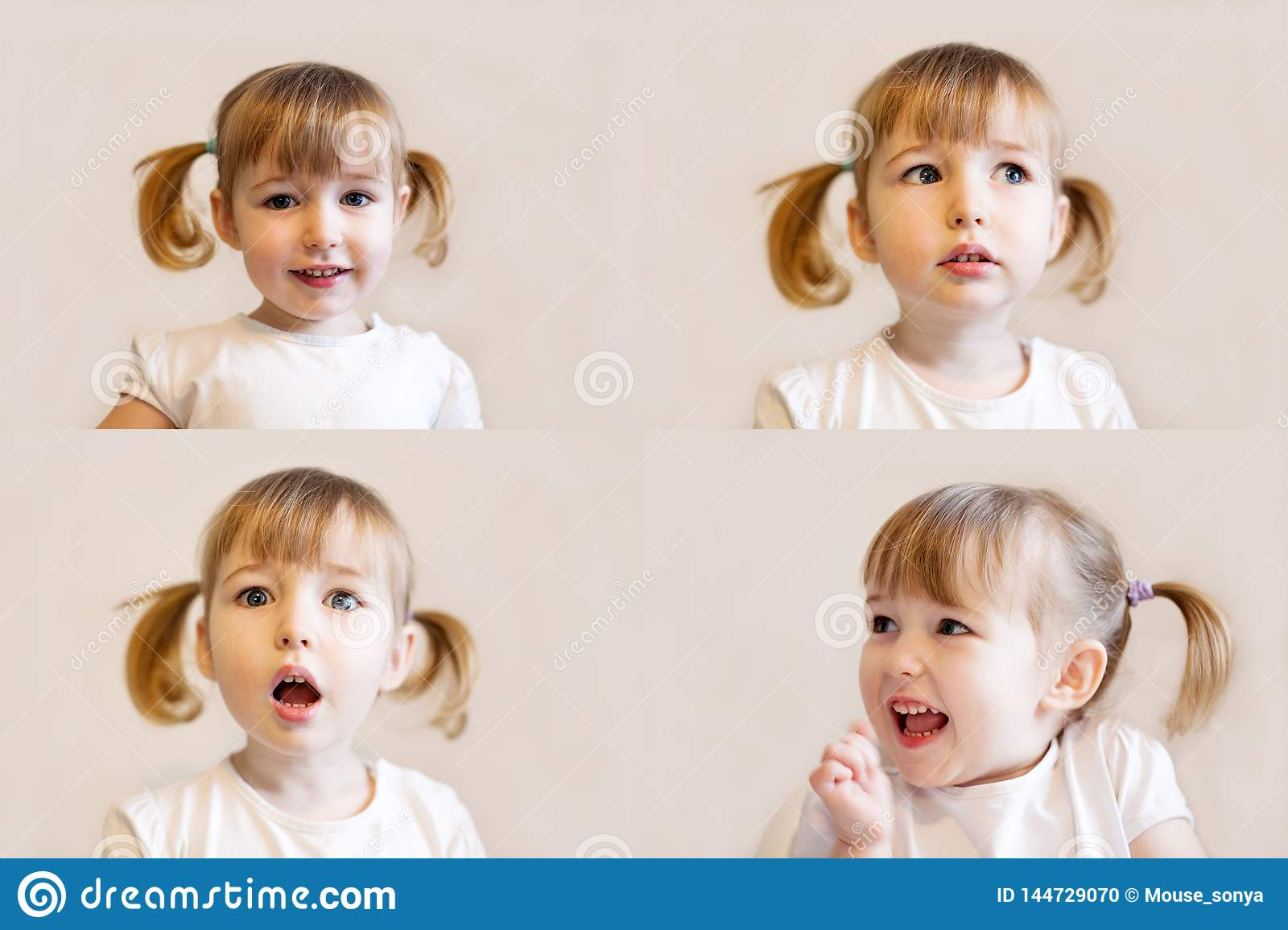 Collage of photos with sly kid girl with pigtails hair closeup face emotional portraits