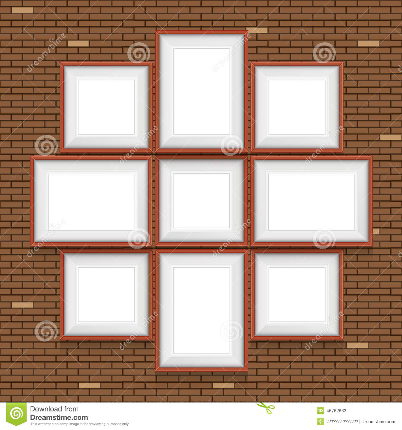 Collage Of Picture Frames On The Brick Wall. Stock Vector ...