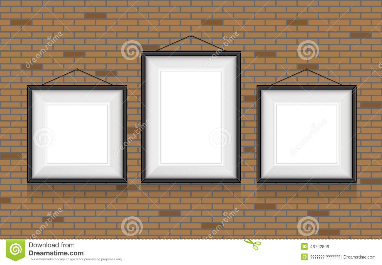 Collage of picture frames on the brick wall stock vector collage of picture frames on the brick wall jeuxipadfo Gallery