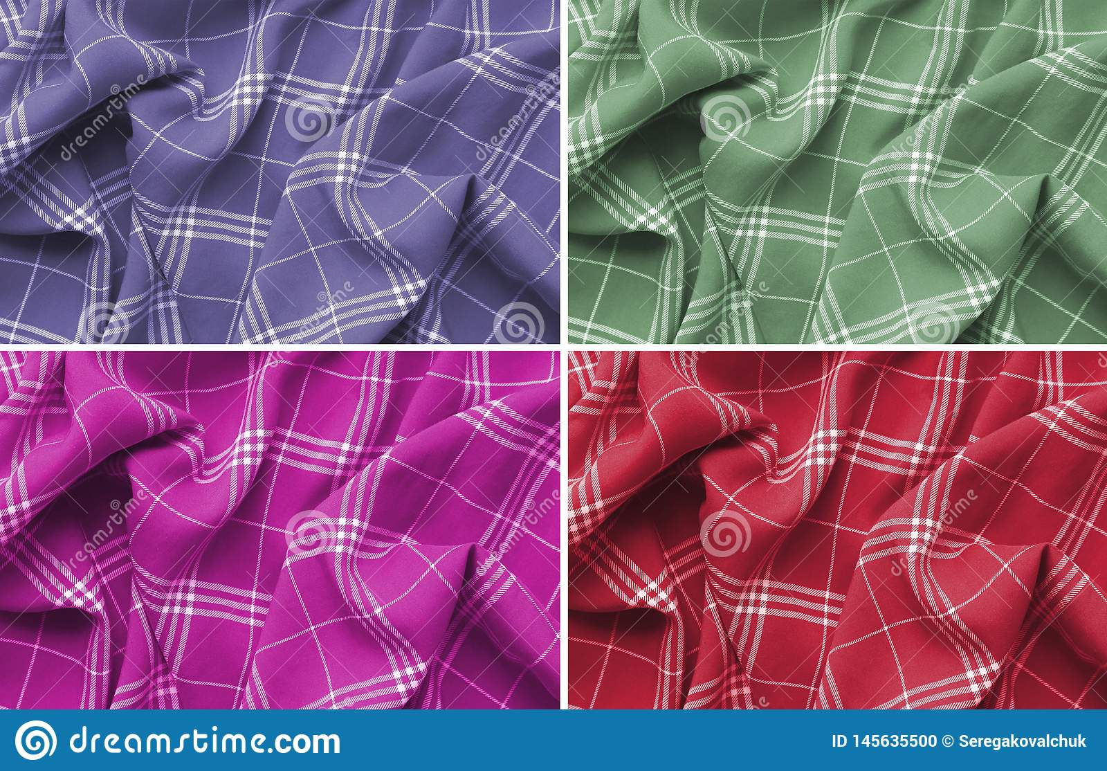 Collage of pink,purple,green and red checkered plaid clothes material. Close up macro view.Cloth background.Scottish pattern