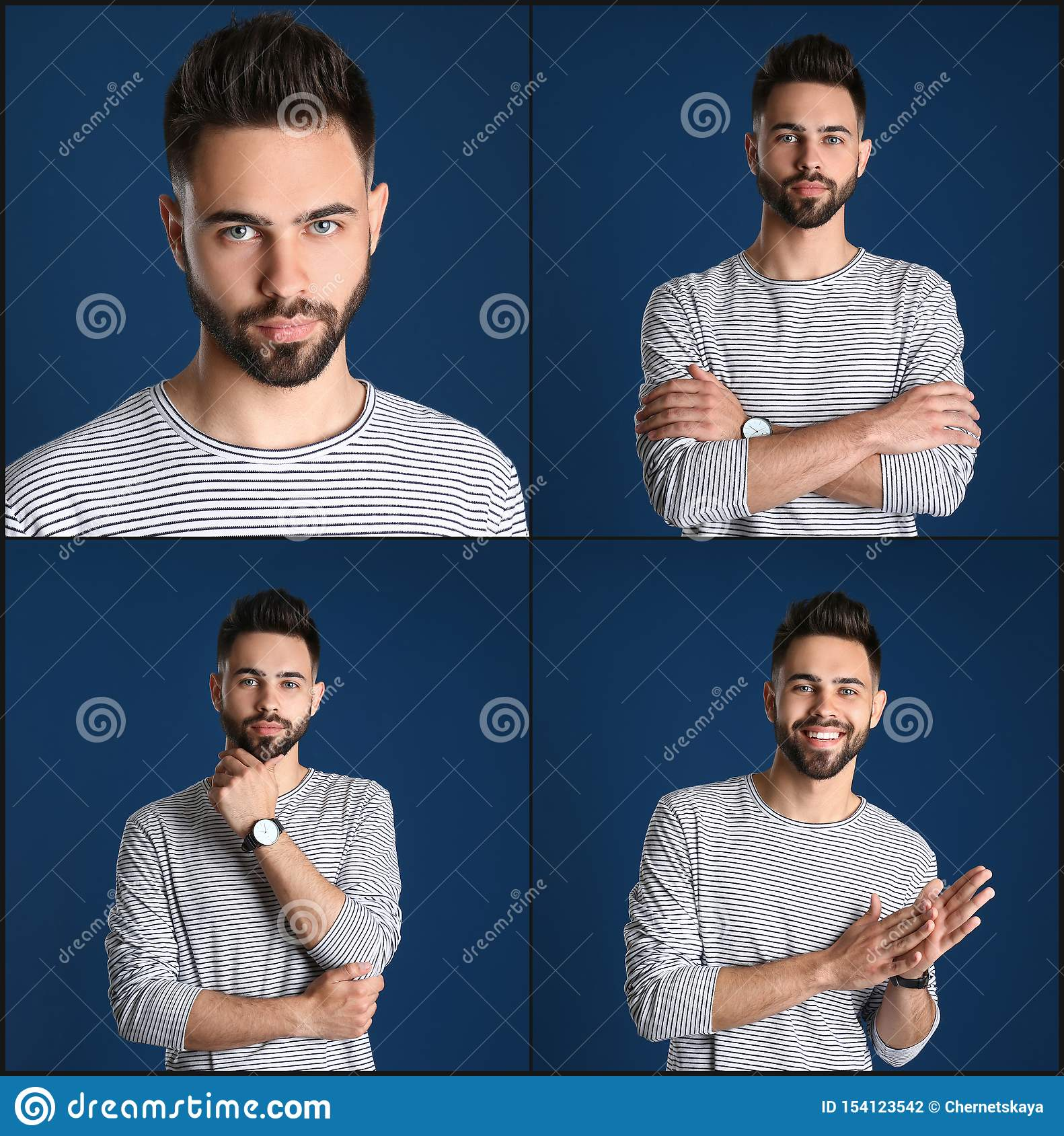 Collage with portraits of handsome man on blue