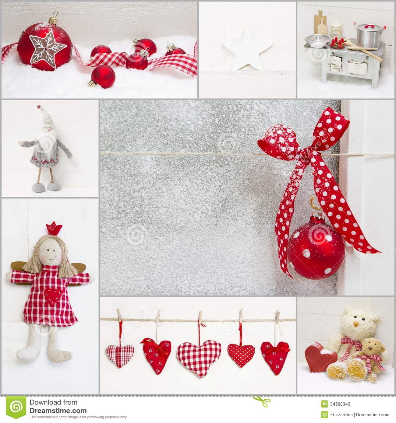 Red and white christmas decorations - Angel Bear Checked Christmas Claus Collage Decoration Heart Red Santa Teddy White