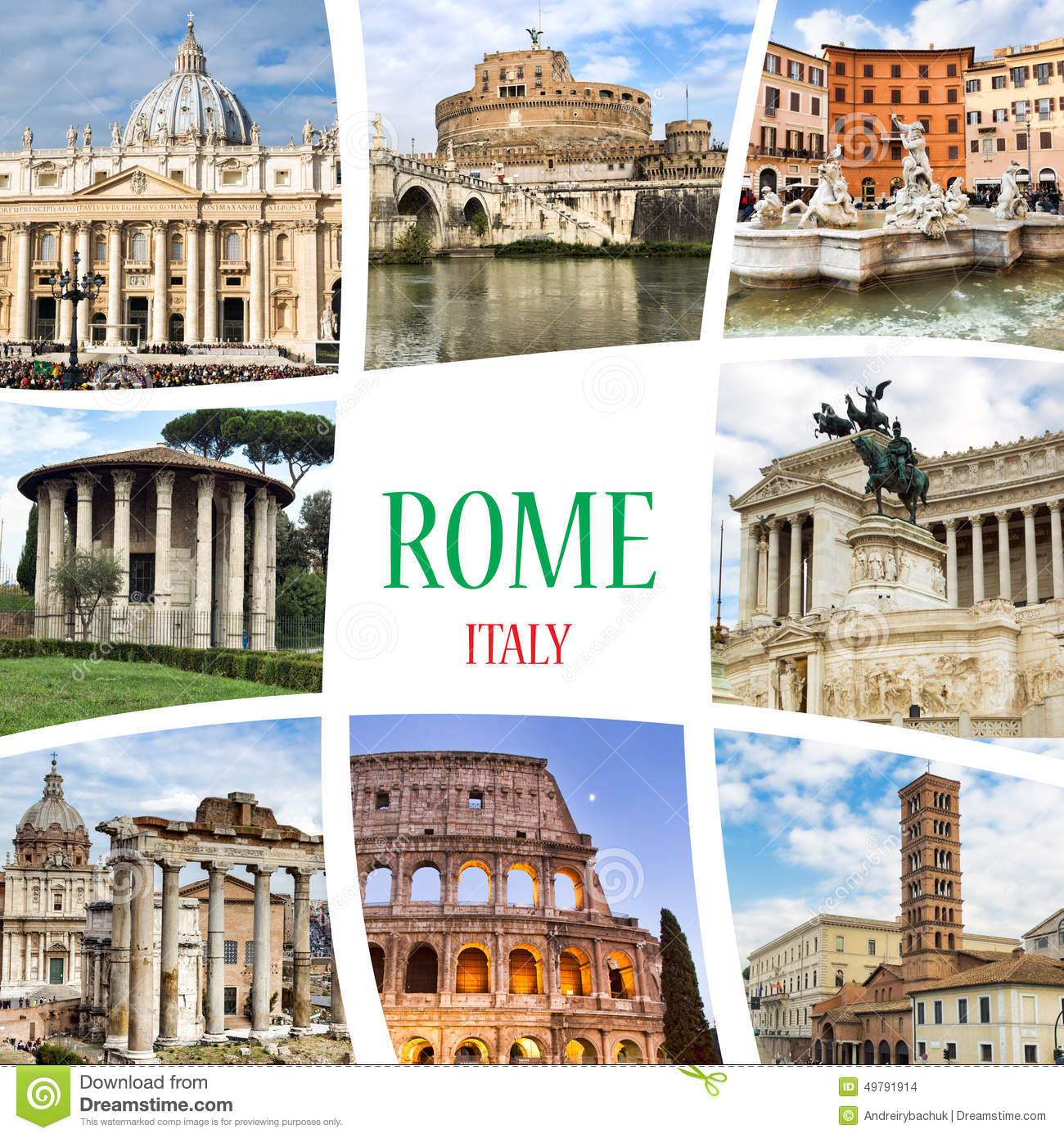 Collage Rome Italy Stock Photo Image 49791914