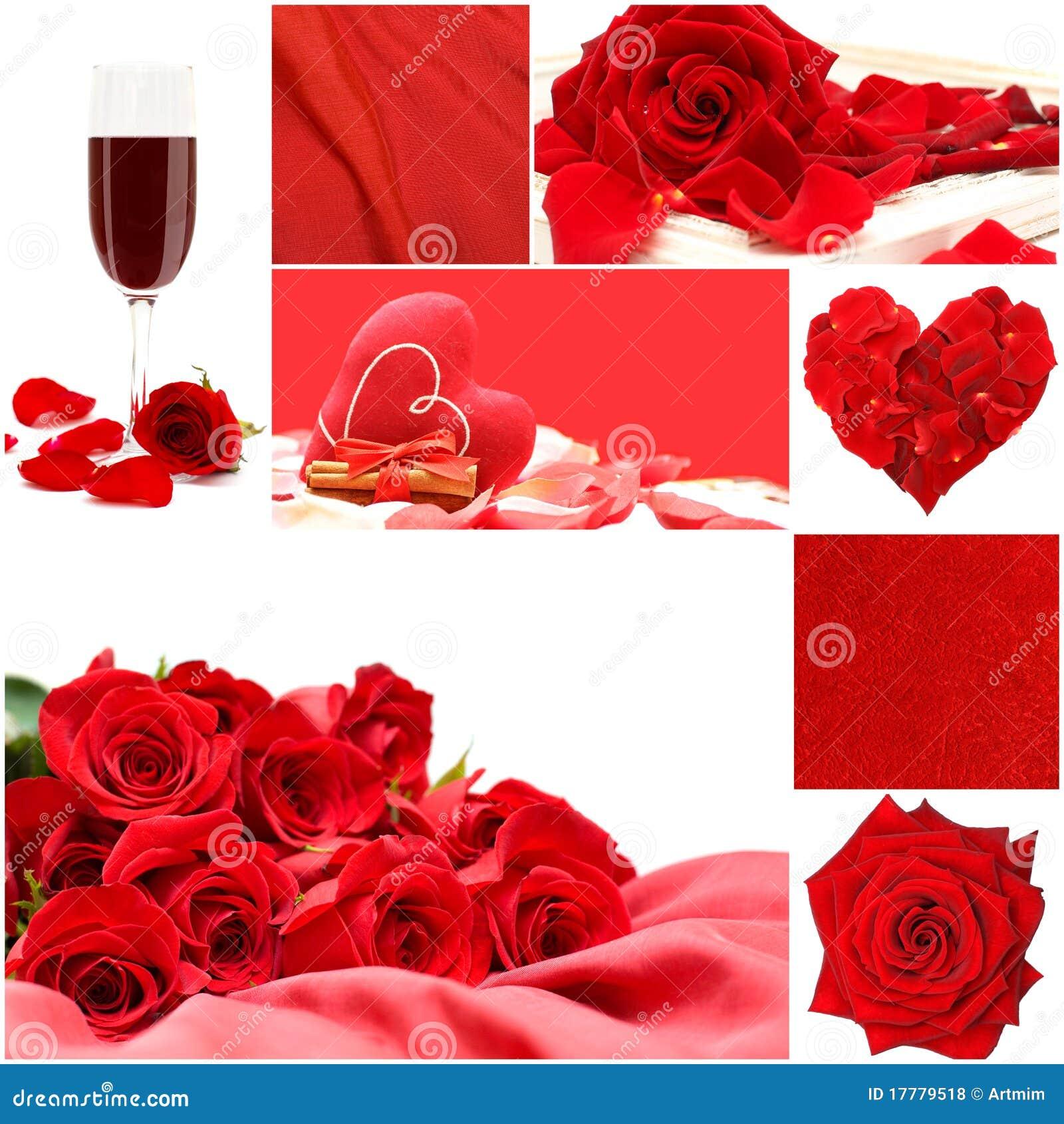 Collage rouge d amour avec les roses, la glace de vigne et le coeur