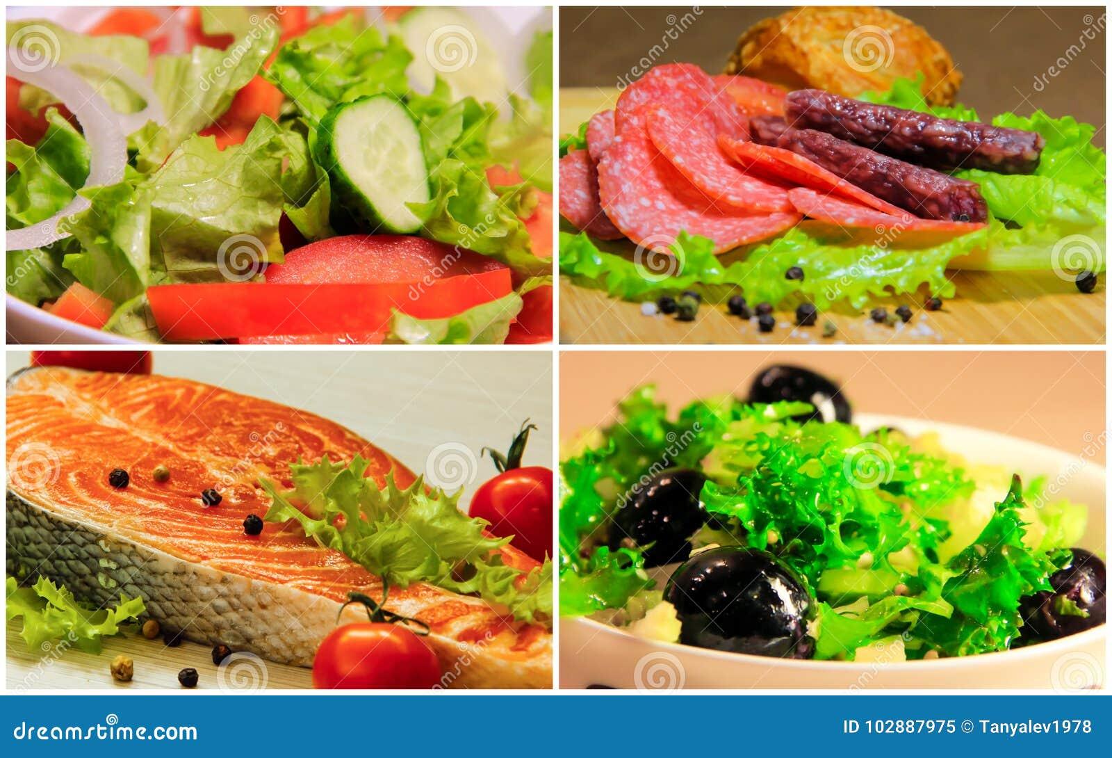 Collage salad food fish
