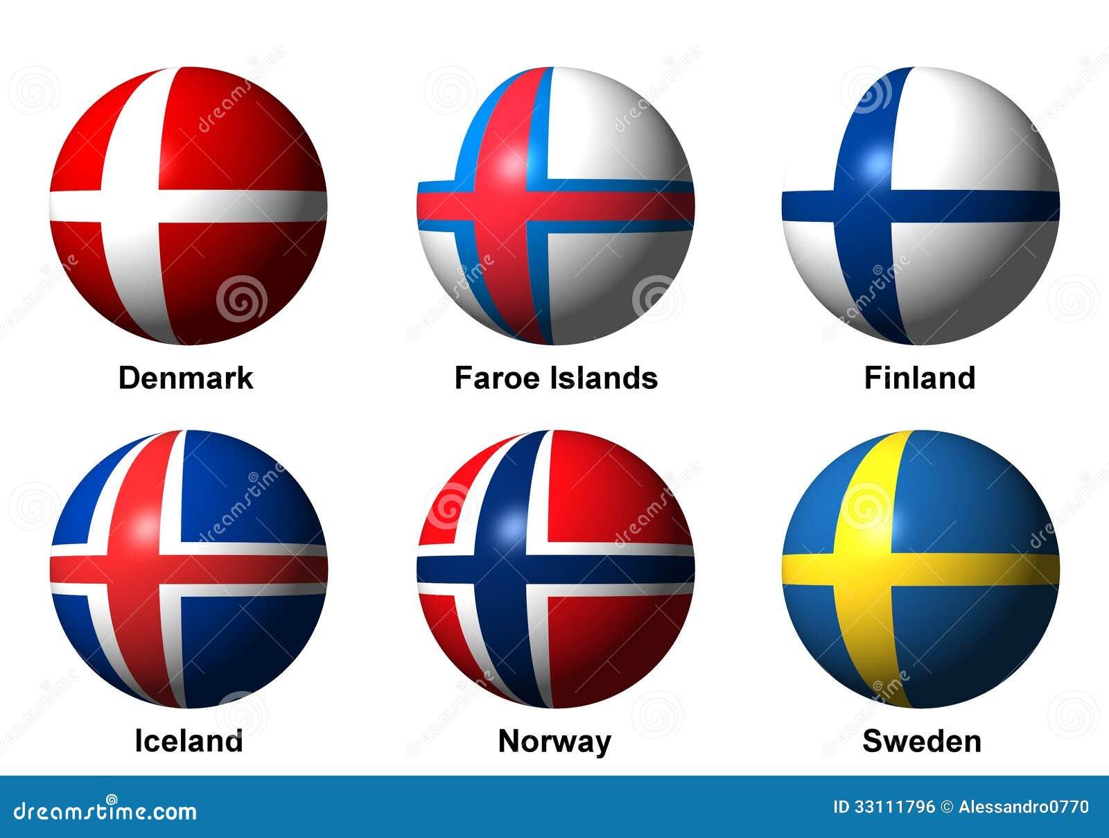 Skandinavische Flaggen