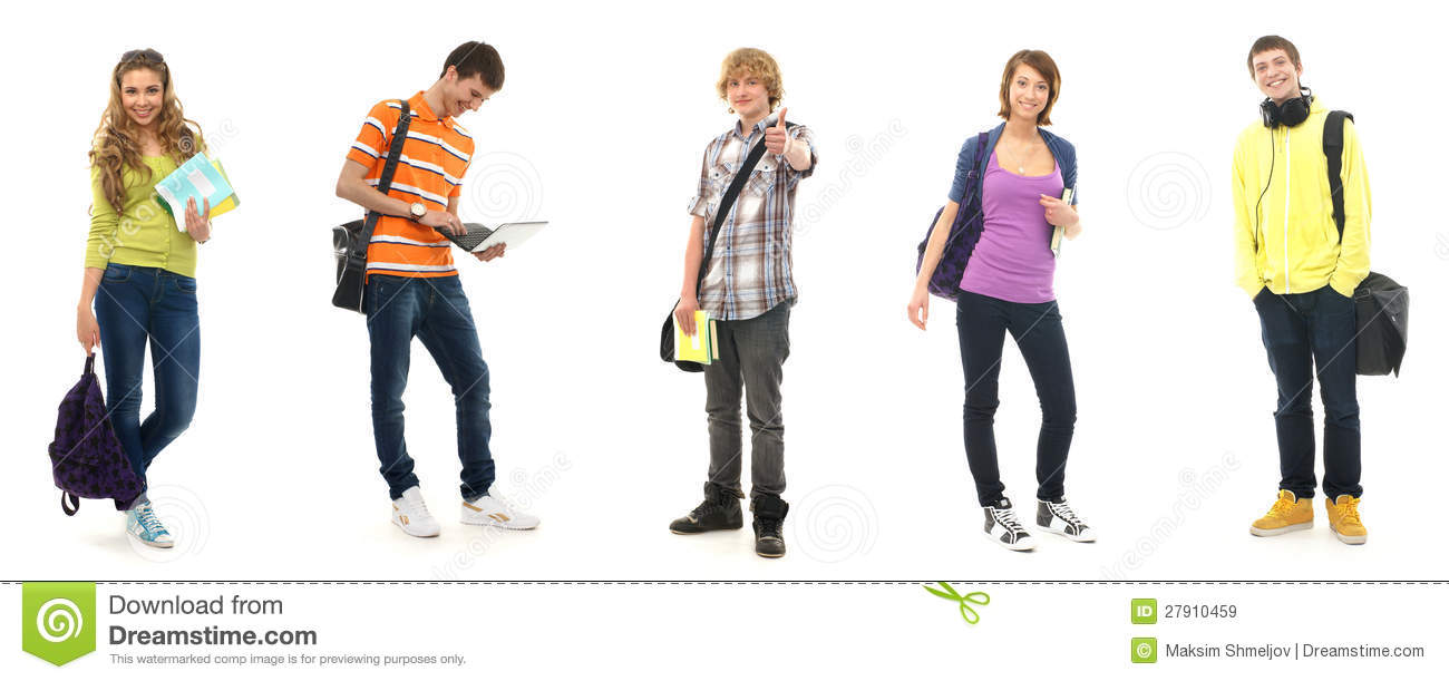 Collage of five caucasian school teenages posing in modern clothes