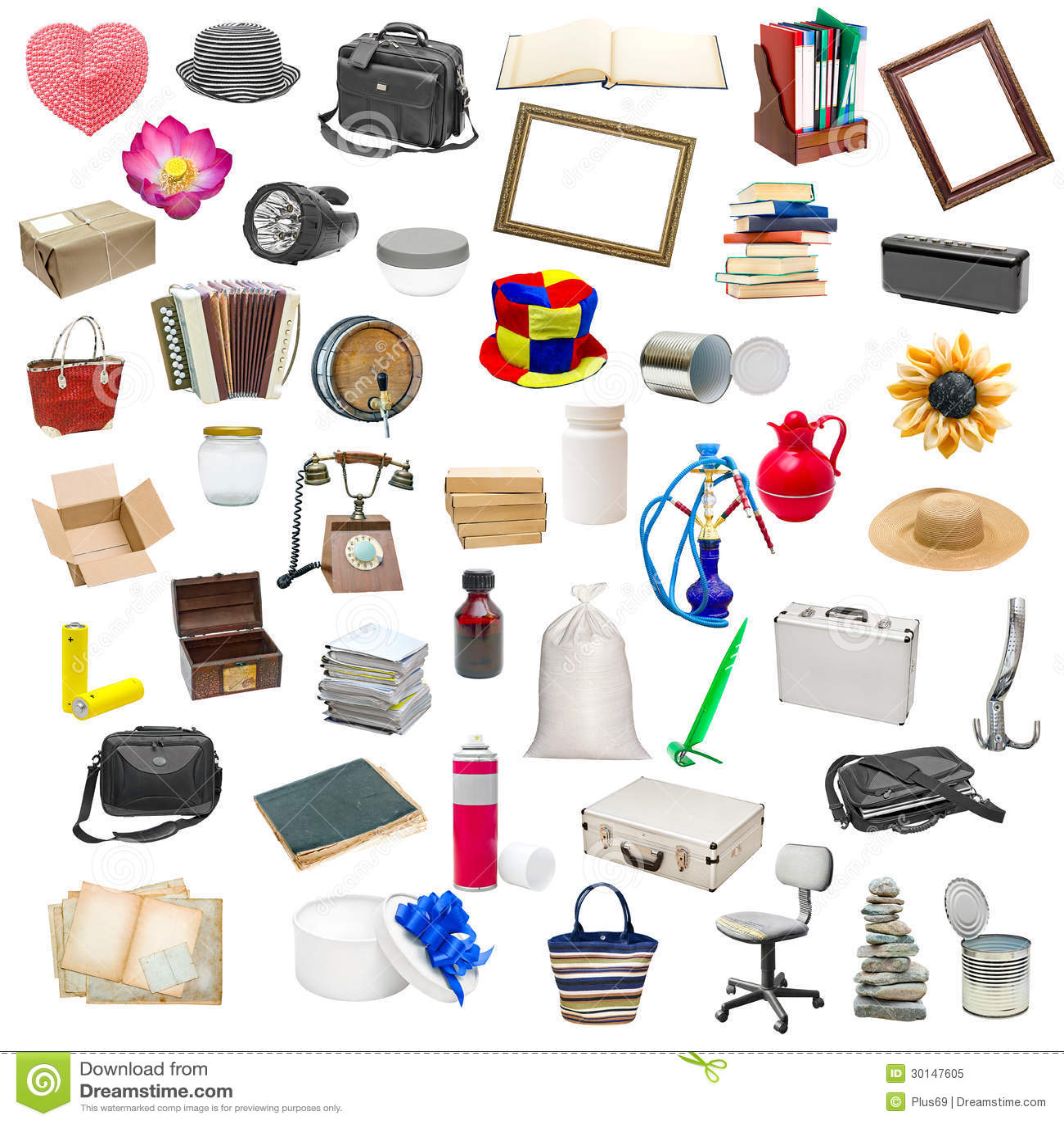 Collage semplice degli oggetti isolati