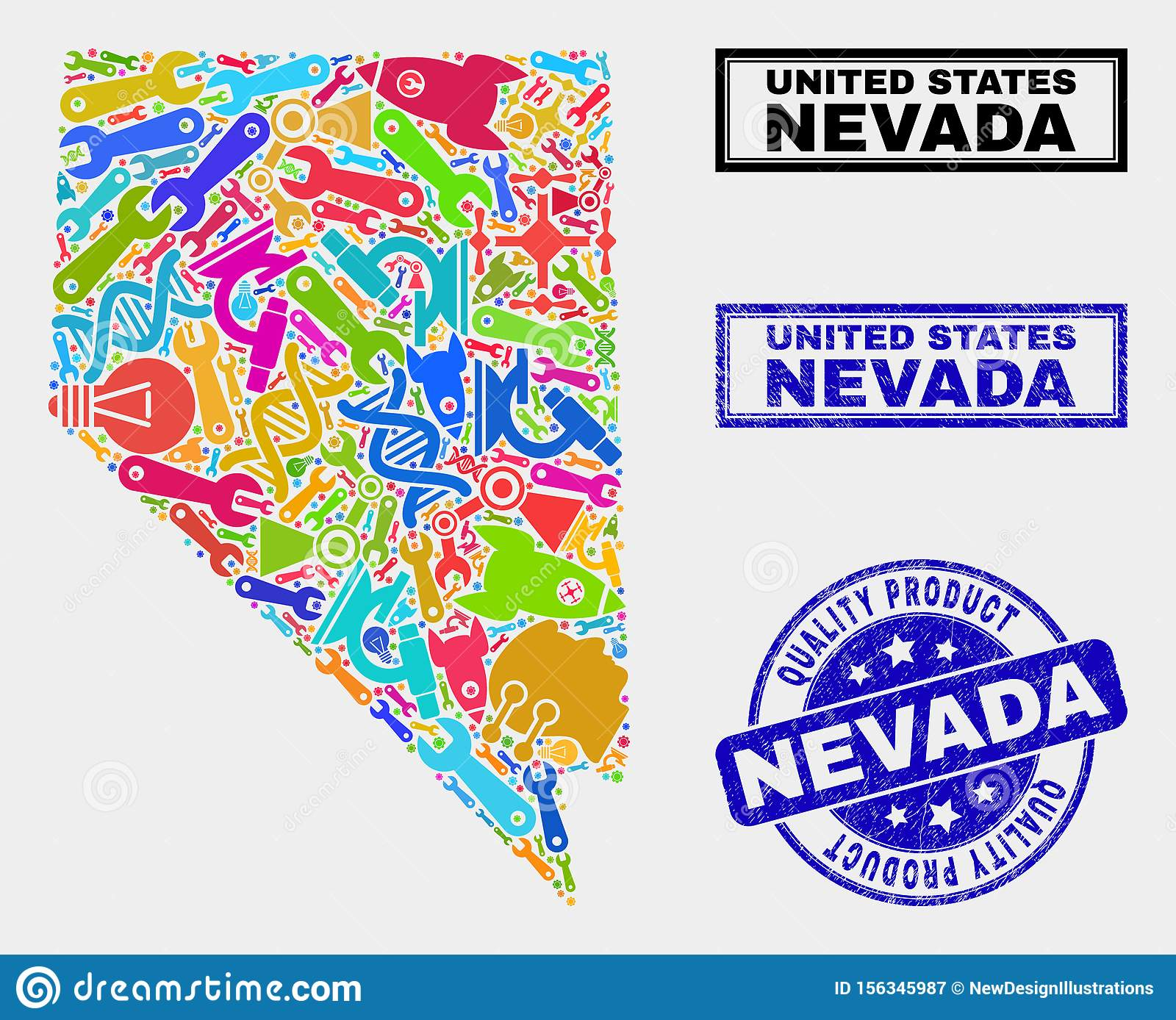 Collage Of Service Nevada State Map And Quality Product ...