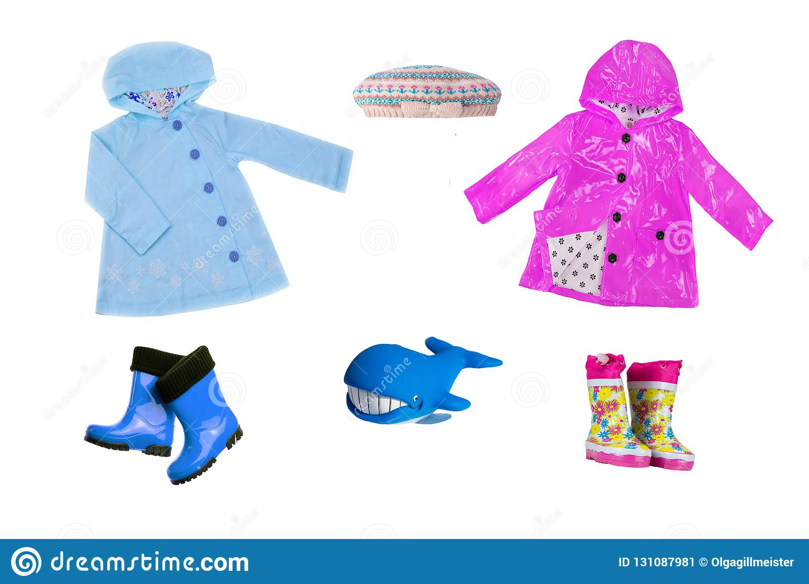 Collage set of children clothes. Collection of spring and autumn