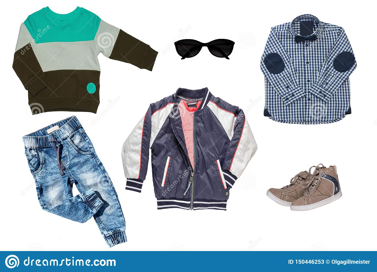 Collage set of children clothes. Denim jeans or pants, a pair shoes , a rain jacket, shirt and a sweater for child boy isolated on