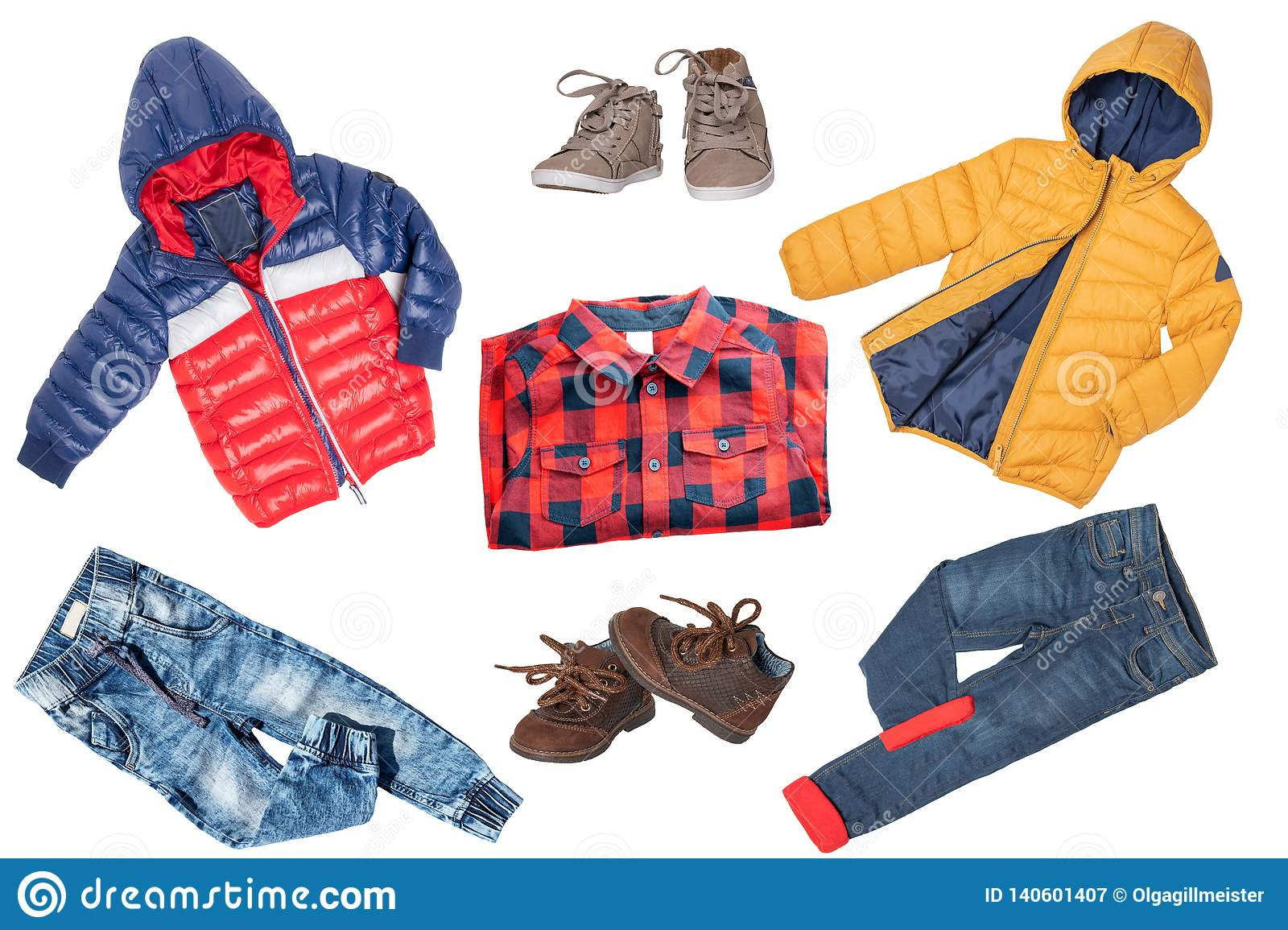 Collage set of children clothes. Denim jeans or pants, shoes, a shirt and rain jackets for child boy isolated on a white