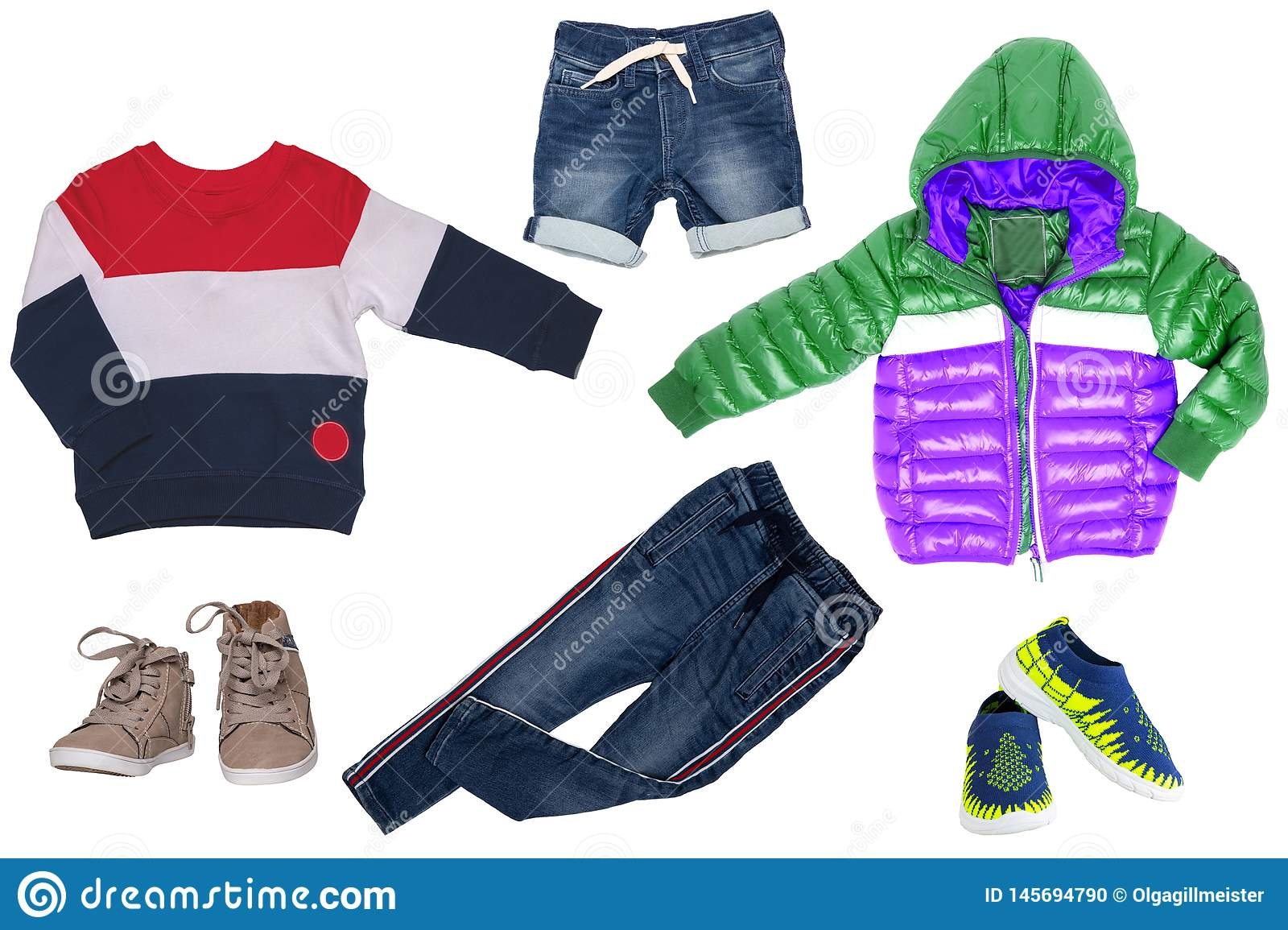Collage set of children clothes. Denim jeans or pants, short jeans, two pair shoes , rain jacket and a sweater for child boy