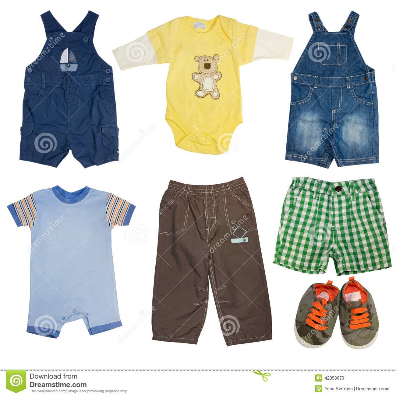 2b0de74a0 Collage Set Of Male Kid Clothes. Stock Image - Image of summer