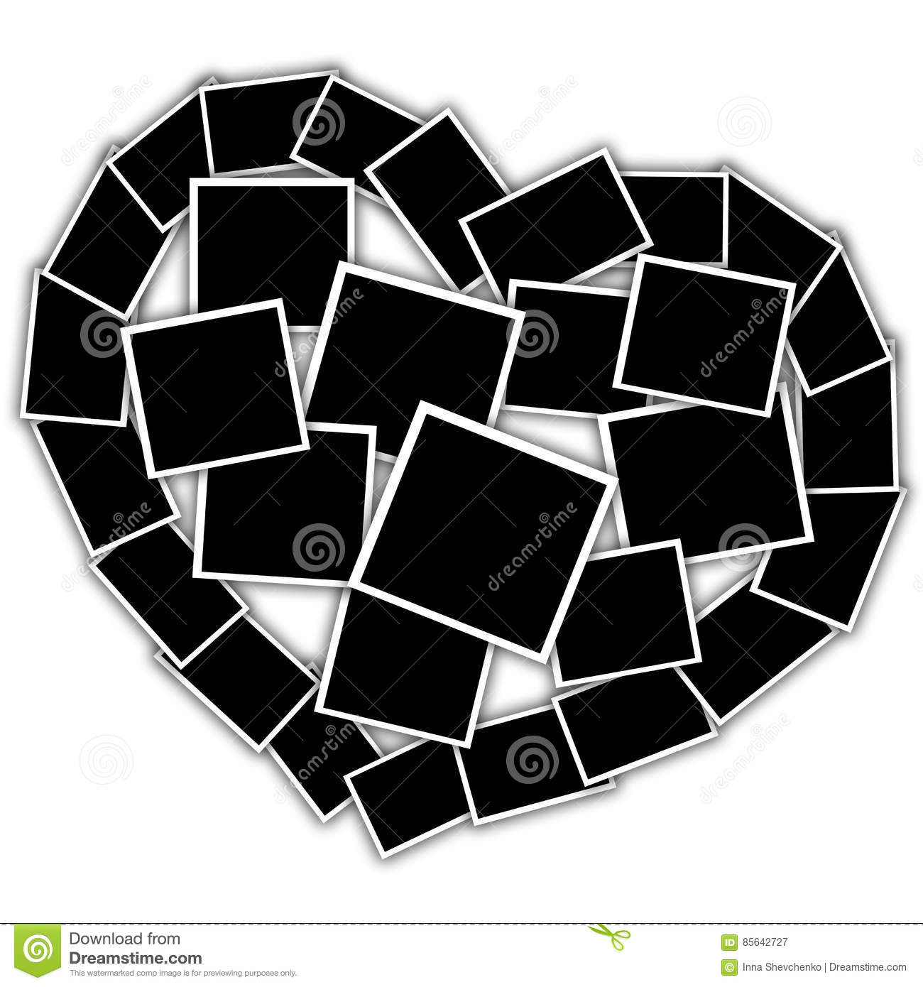 Collage In The Shape Of A Heart, Empty Frames Stock Photo - Image ...