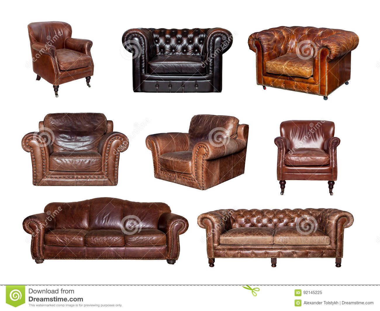 - Collage Of Side And Front Views Of Leather Sofa And Chair Stock
