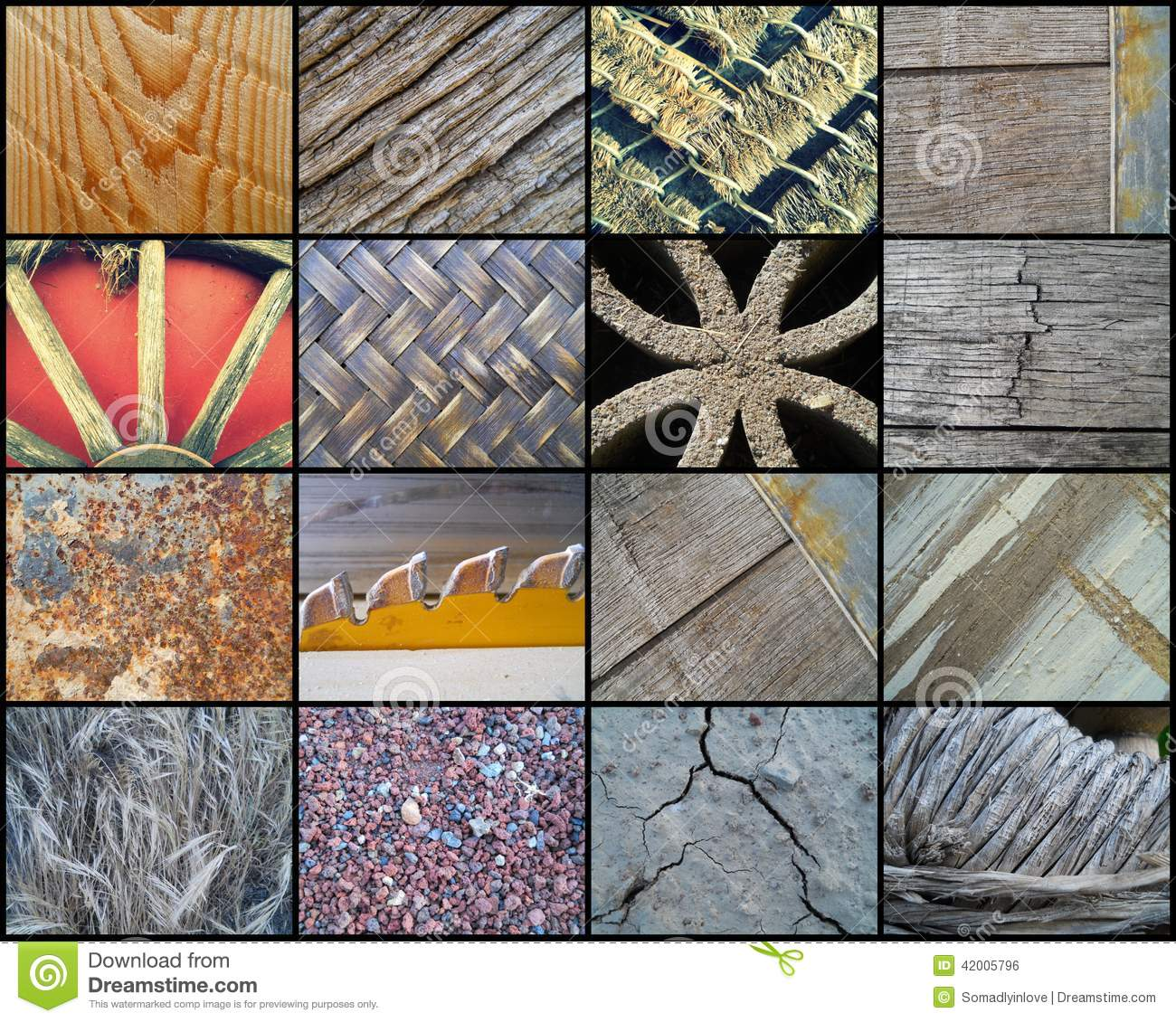 Collage Of Sixteen Rustic Textures Stock Photo - Image ...