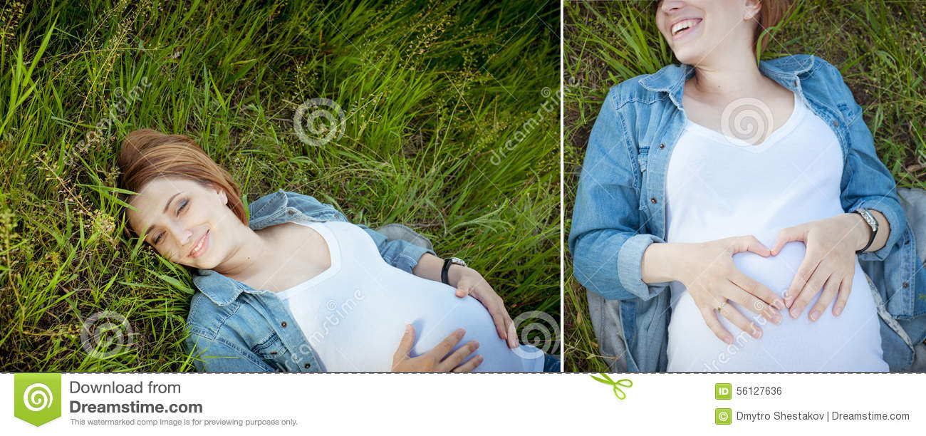 Collage. Smiling happy pregnant woman lying on the grass.