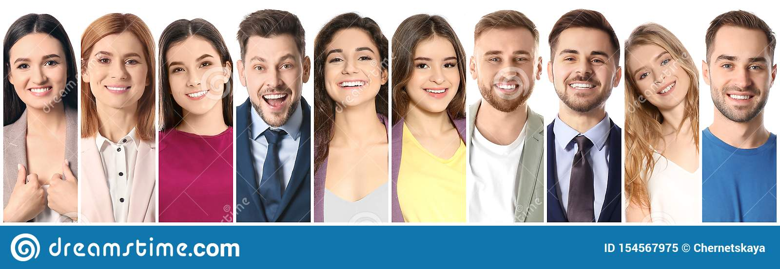 Collage of smiling people on white background
