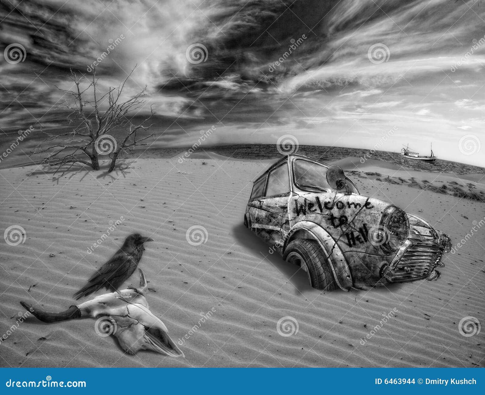 Collage sobre desierto de la muerte