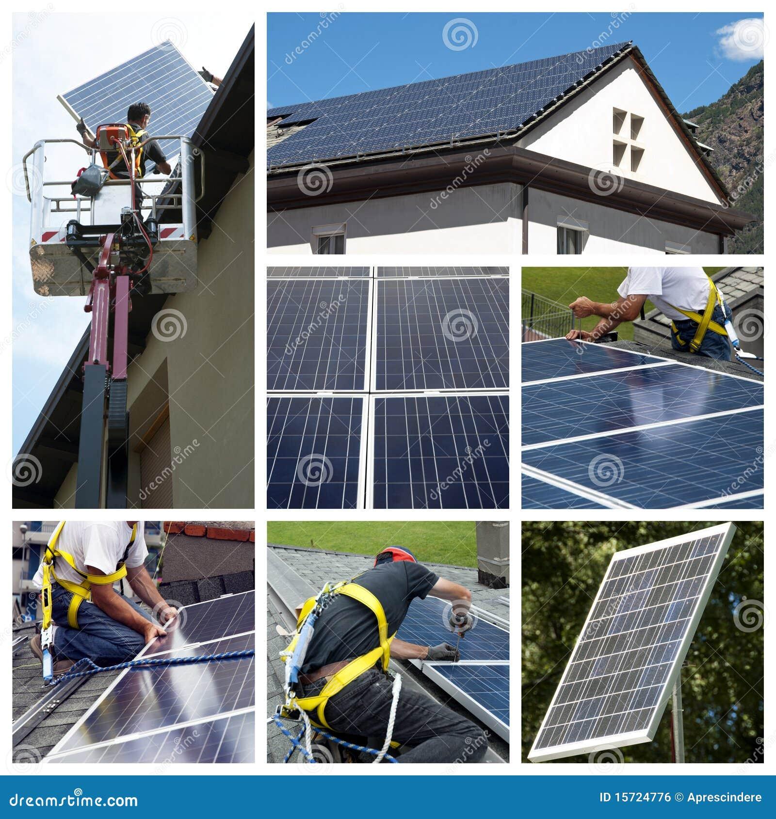 Collage som installerar sol- paneler