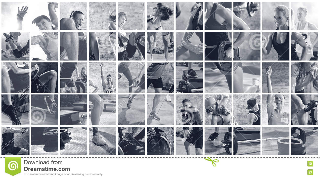 Collage of sport photos with people
