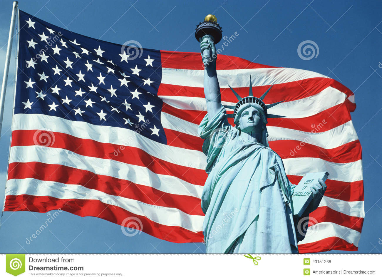 Collage of Statue of Liberty over American Flag