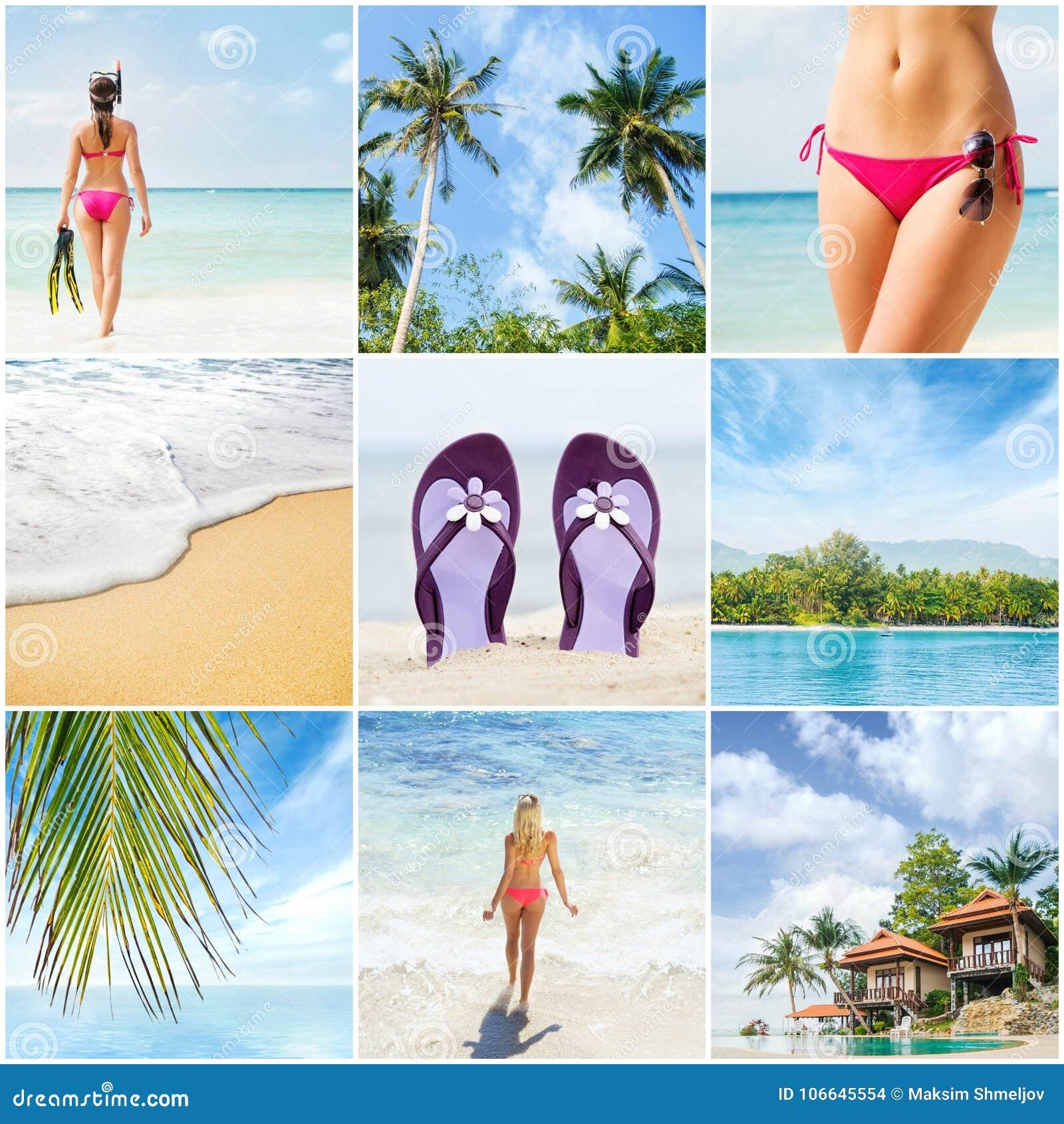 Collage: stazione termale, massaggiante, località di soggiorno, sanità Raccolta di concetto di vacanze estive
