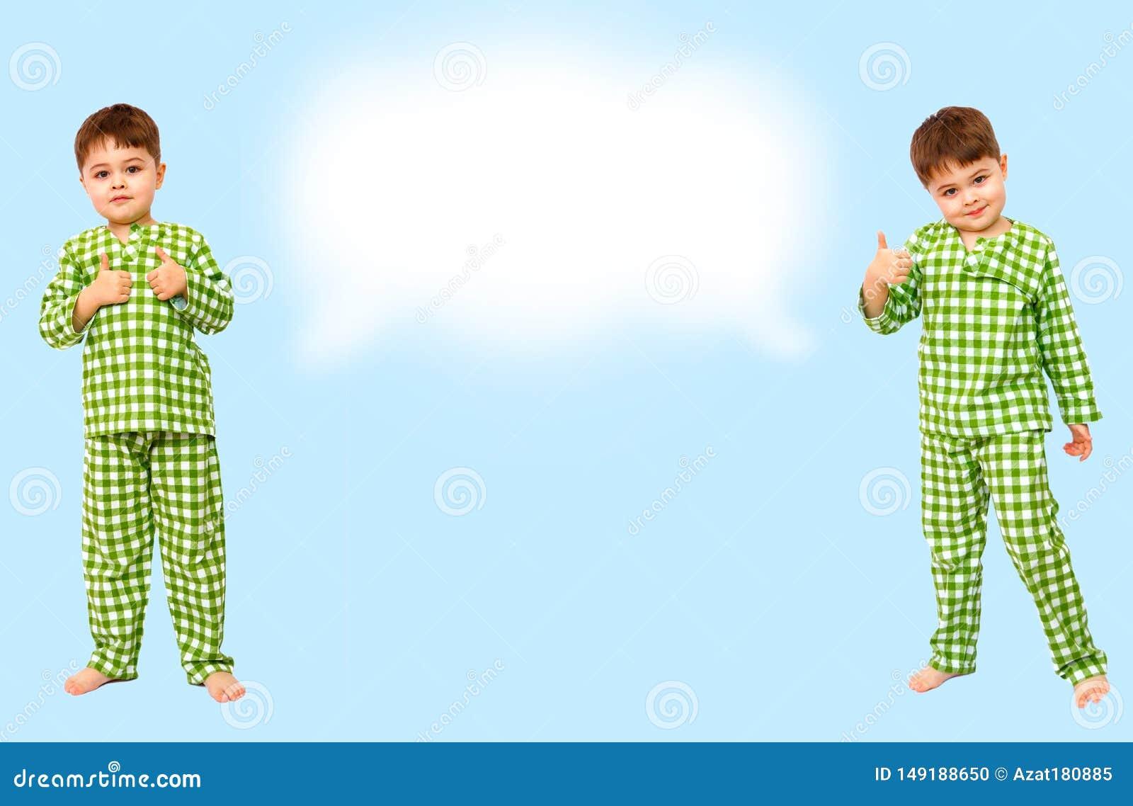 Collage Stellung des kleinen Jungen in den Pyjamas, die Zeichen der Zustimmung zeigen, m?gen