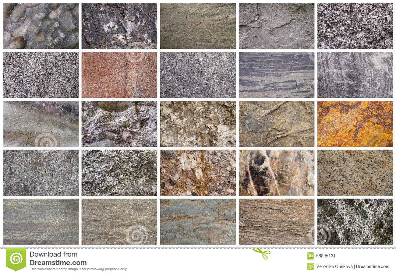 Types Of Sandstone : Collage of stone types stock image sandstone