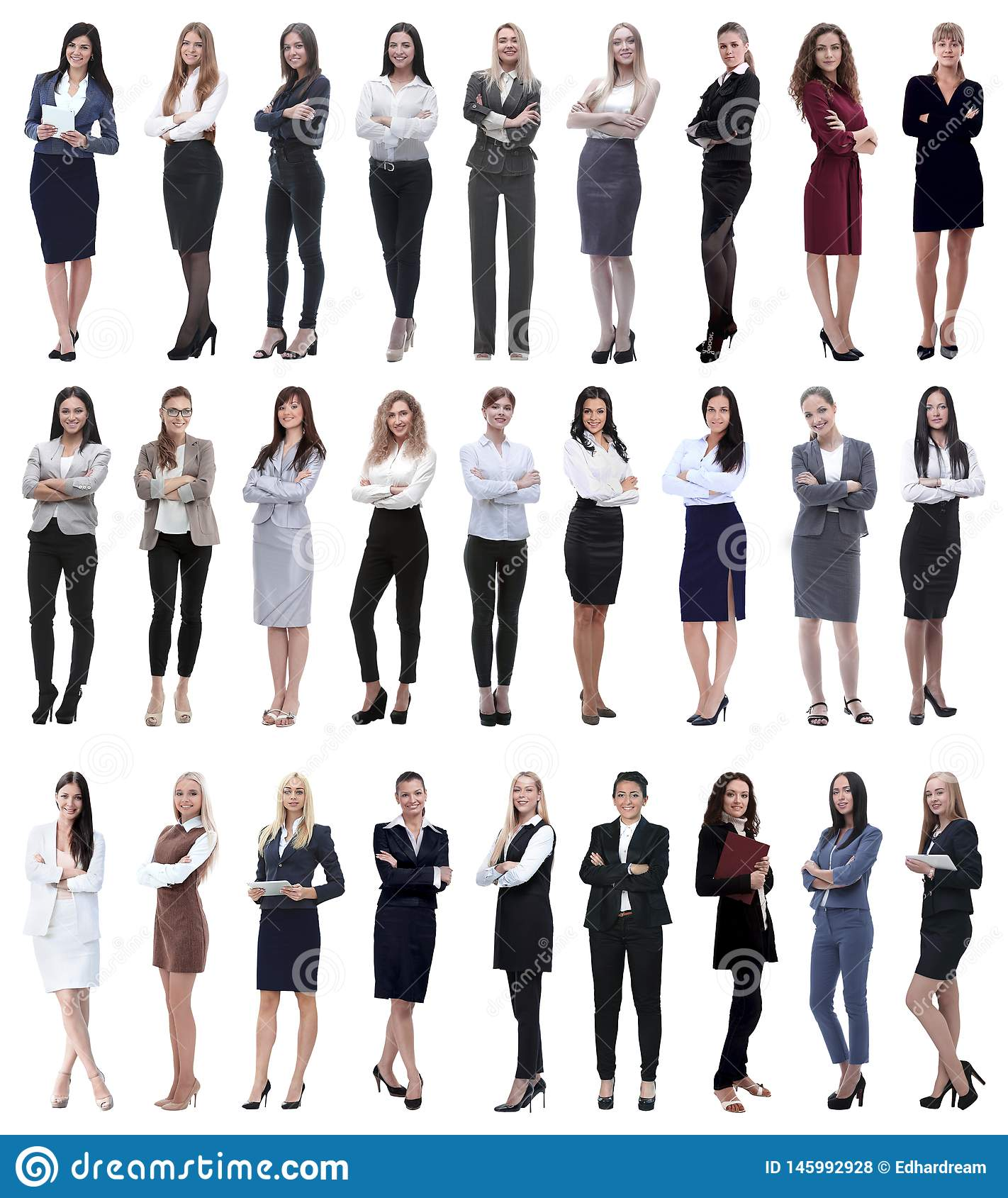 Collage of successful modern businesswoman. isolated on white