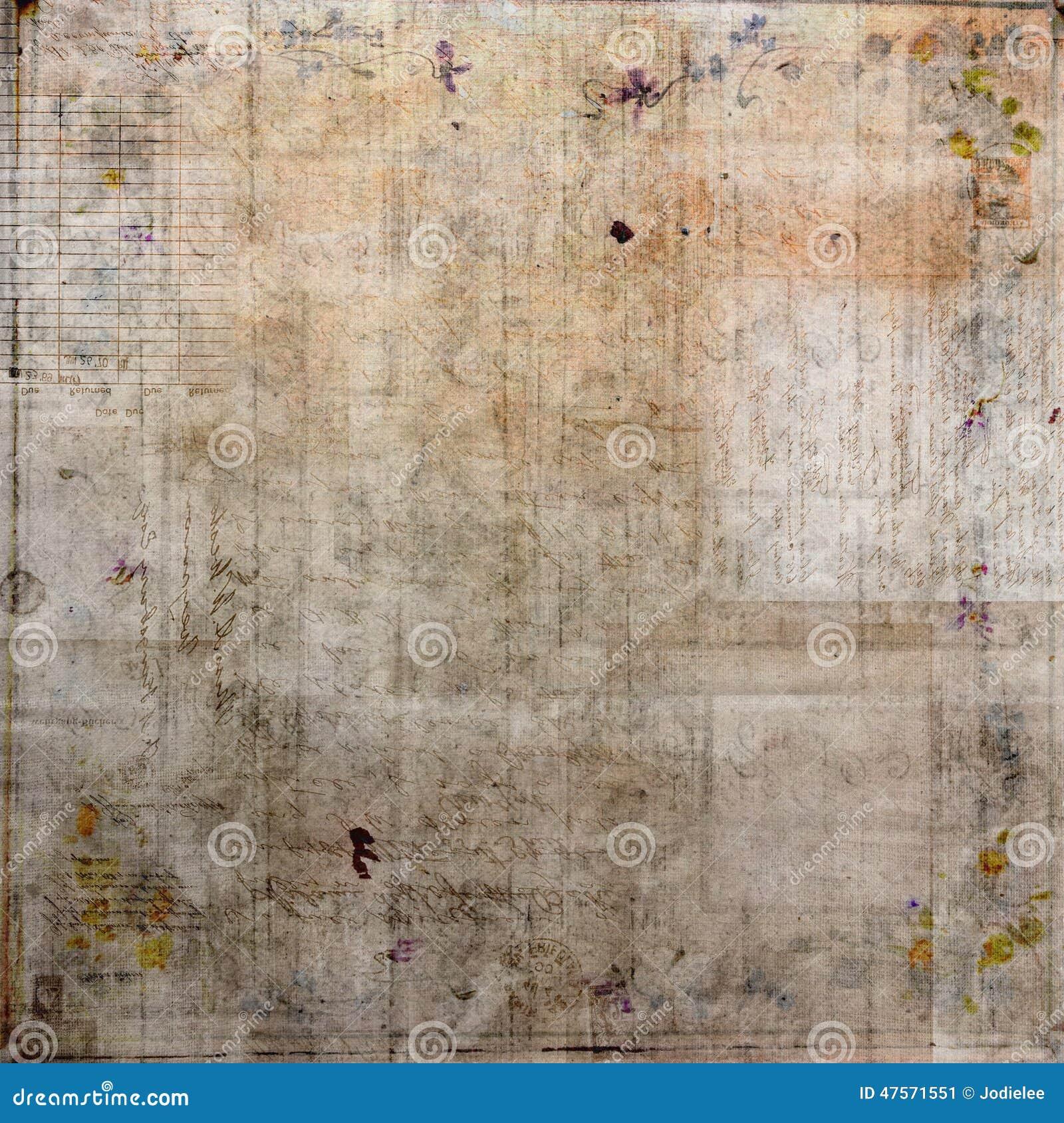Collage sucio del vintage con el fondo de la oscuridad de Brown del texto