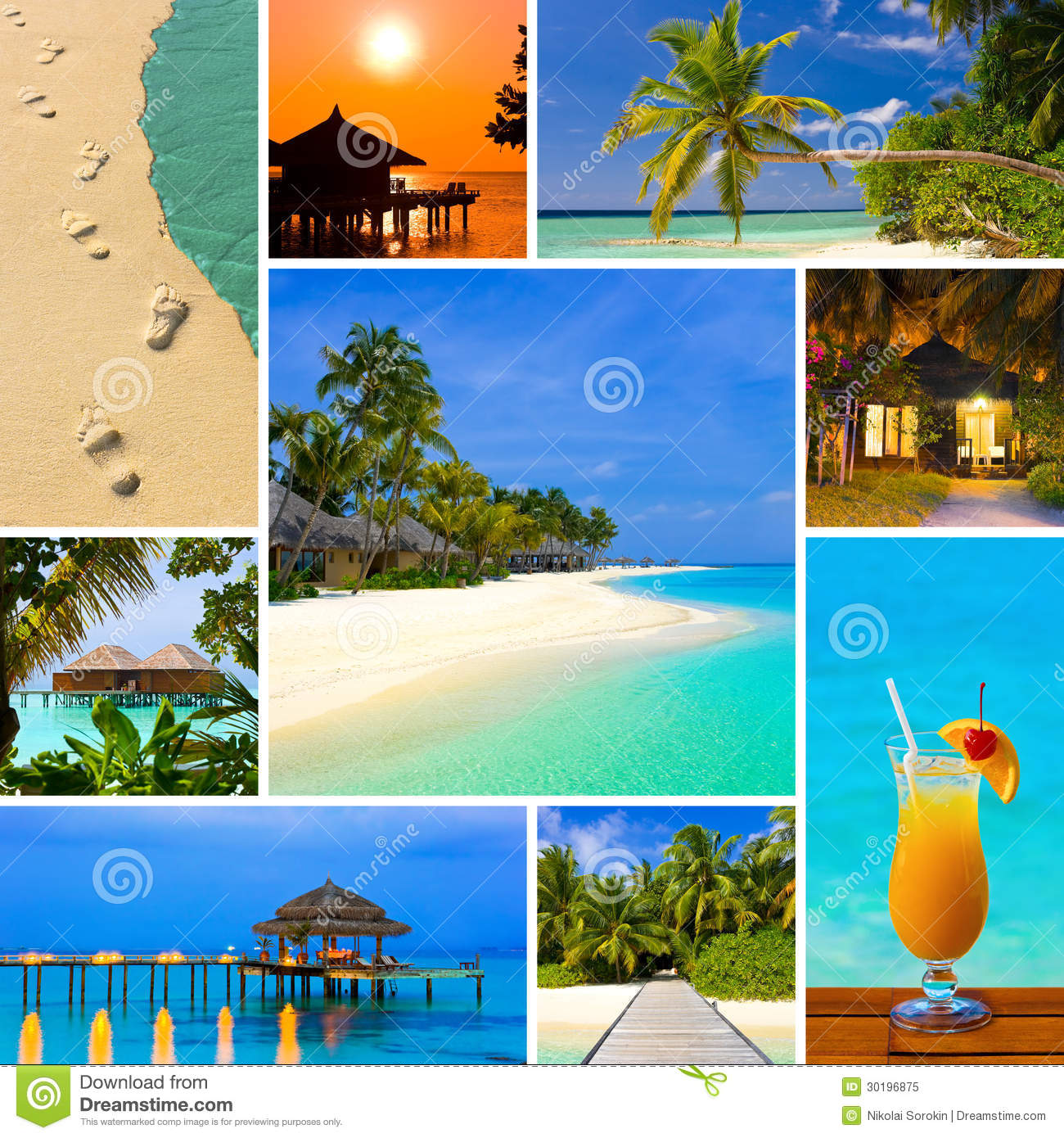 Collage Summer Beach Maldives Royalty Free Stock Image